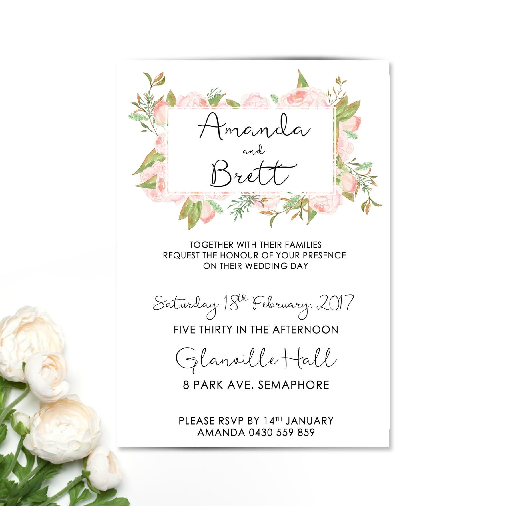 Floaty Garden Floral Wedding Invitations