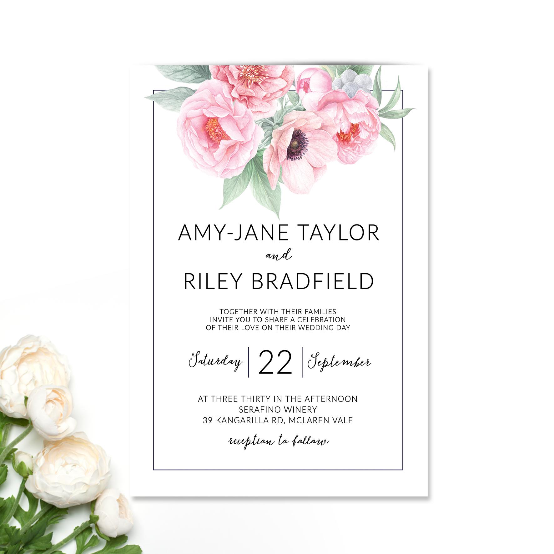 Amy-Jane + Riley Wedding Invitation