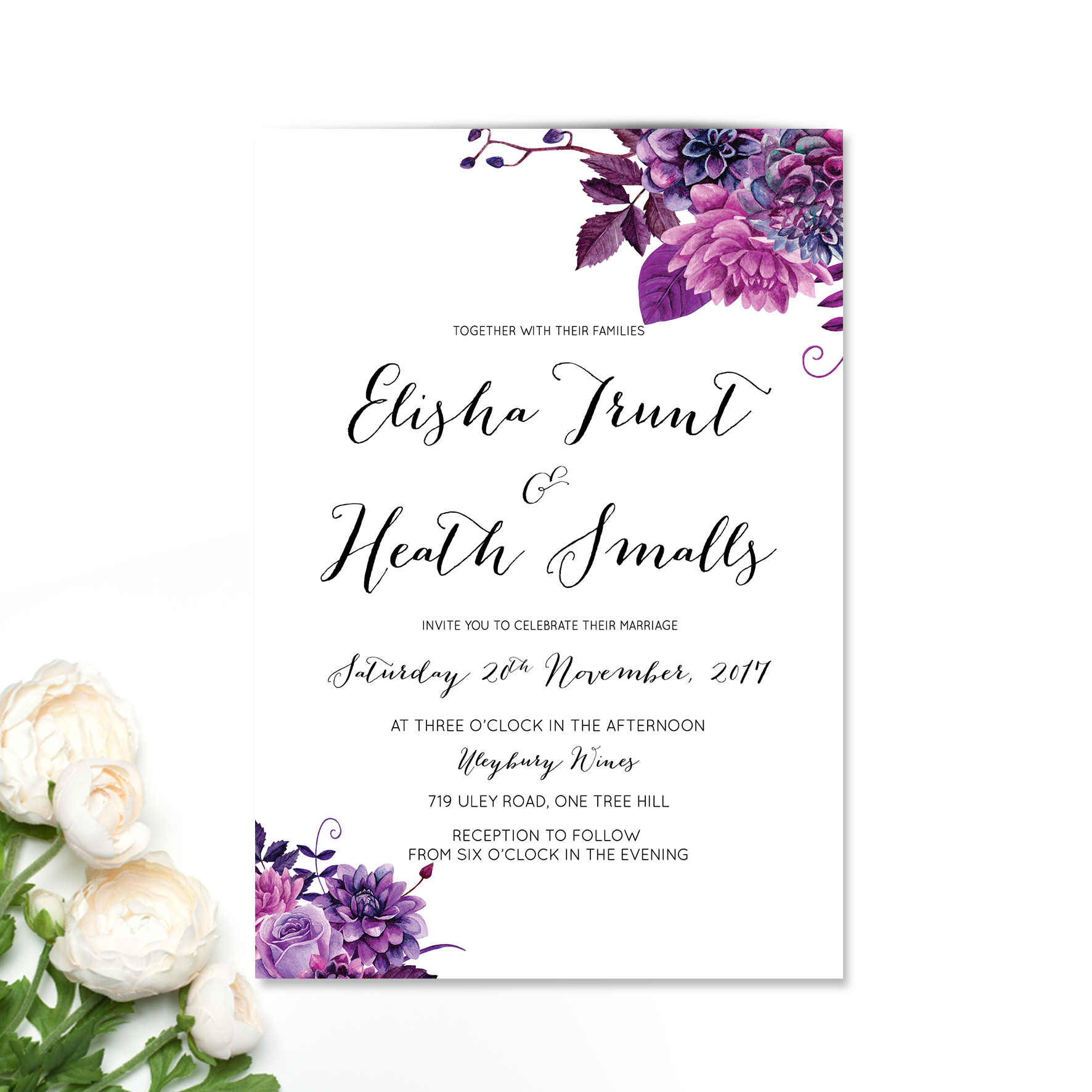 Boysenberry Floral Wedding Invitation