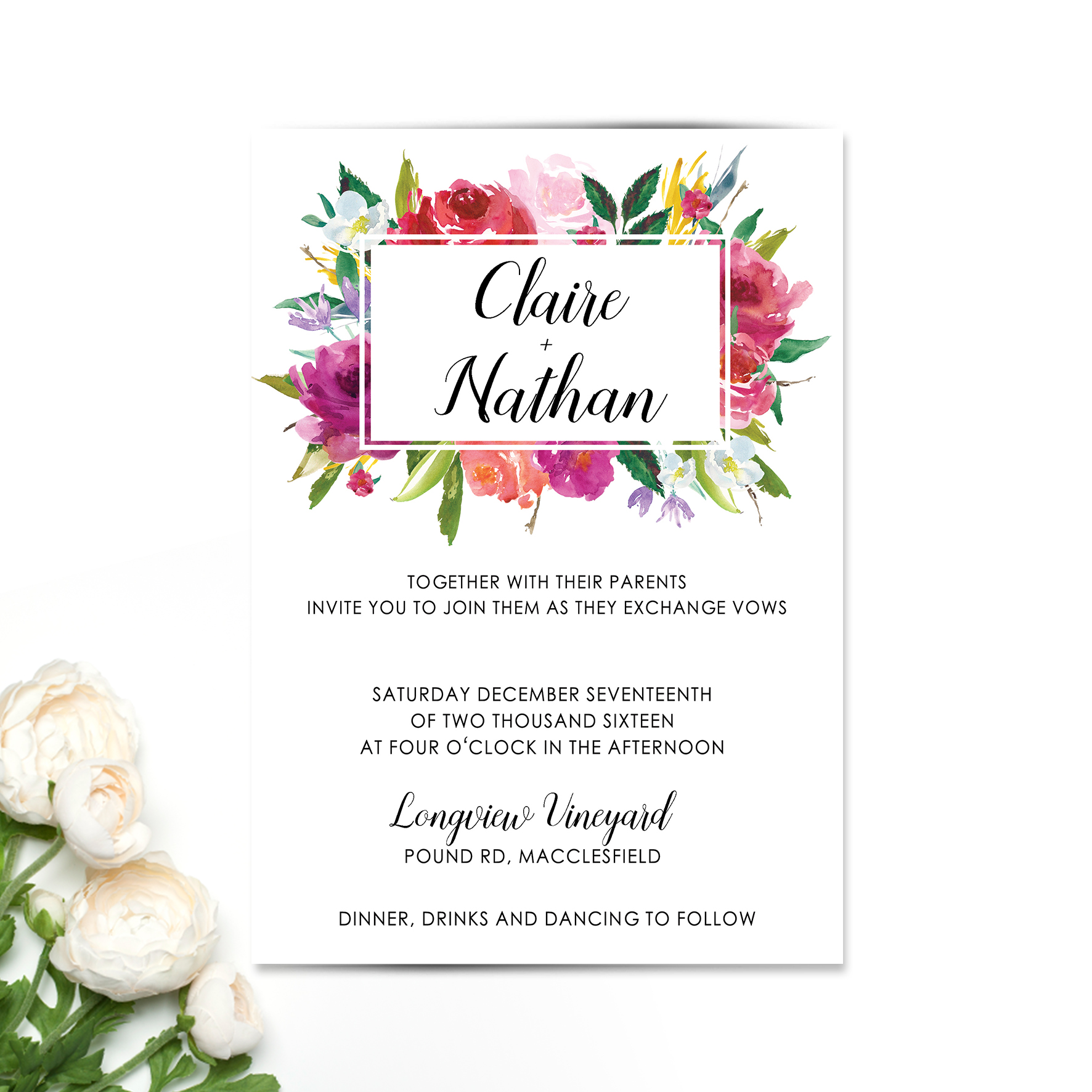 Bright Rosey Floral Wedding Invitation