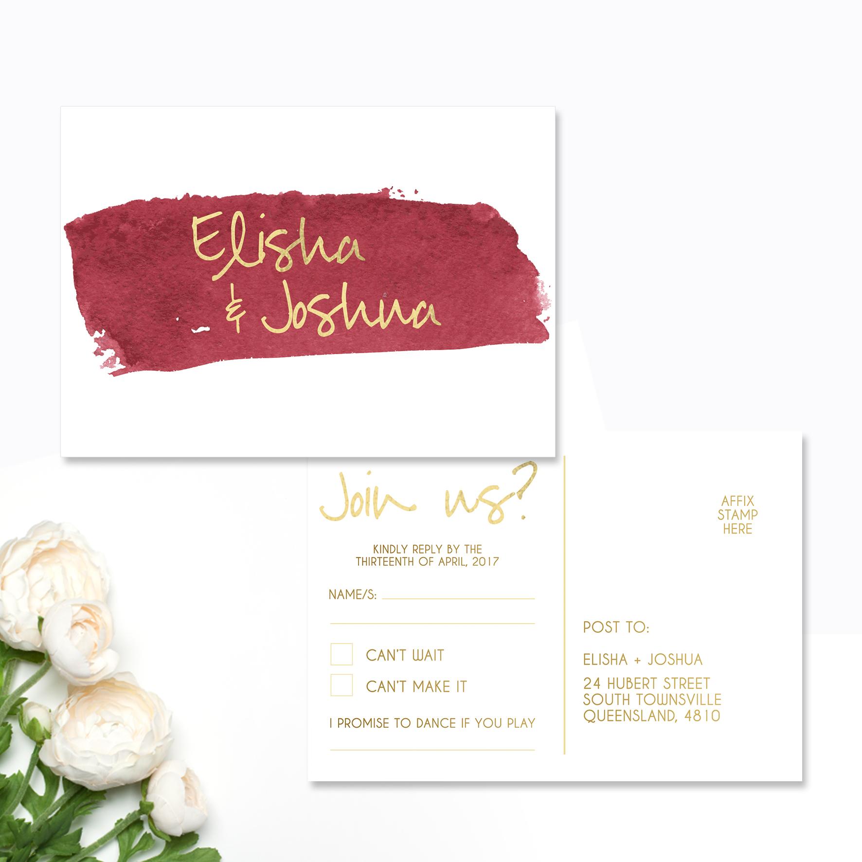 Elisha + Joshua Reply Card