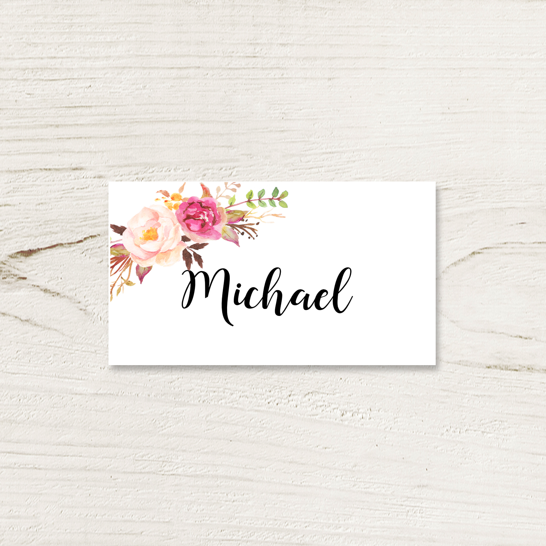Rosey Watercolour Place Card