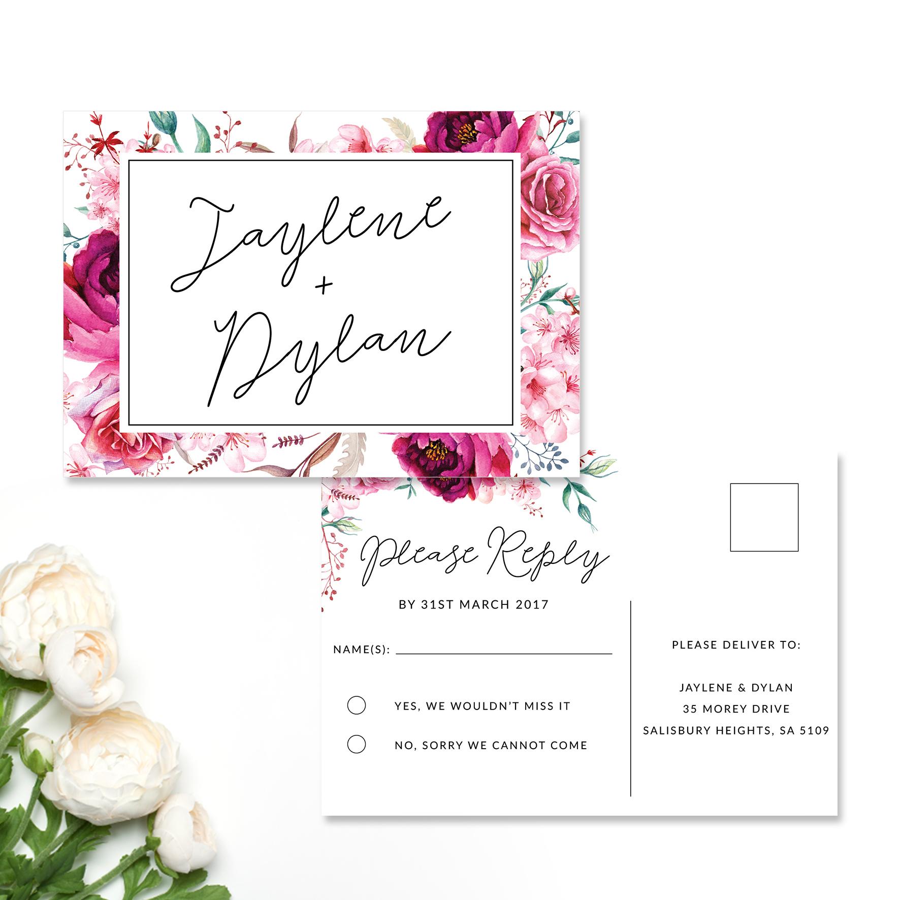 Jaylene + Dylan Reply Card