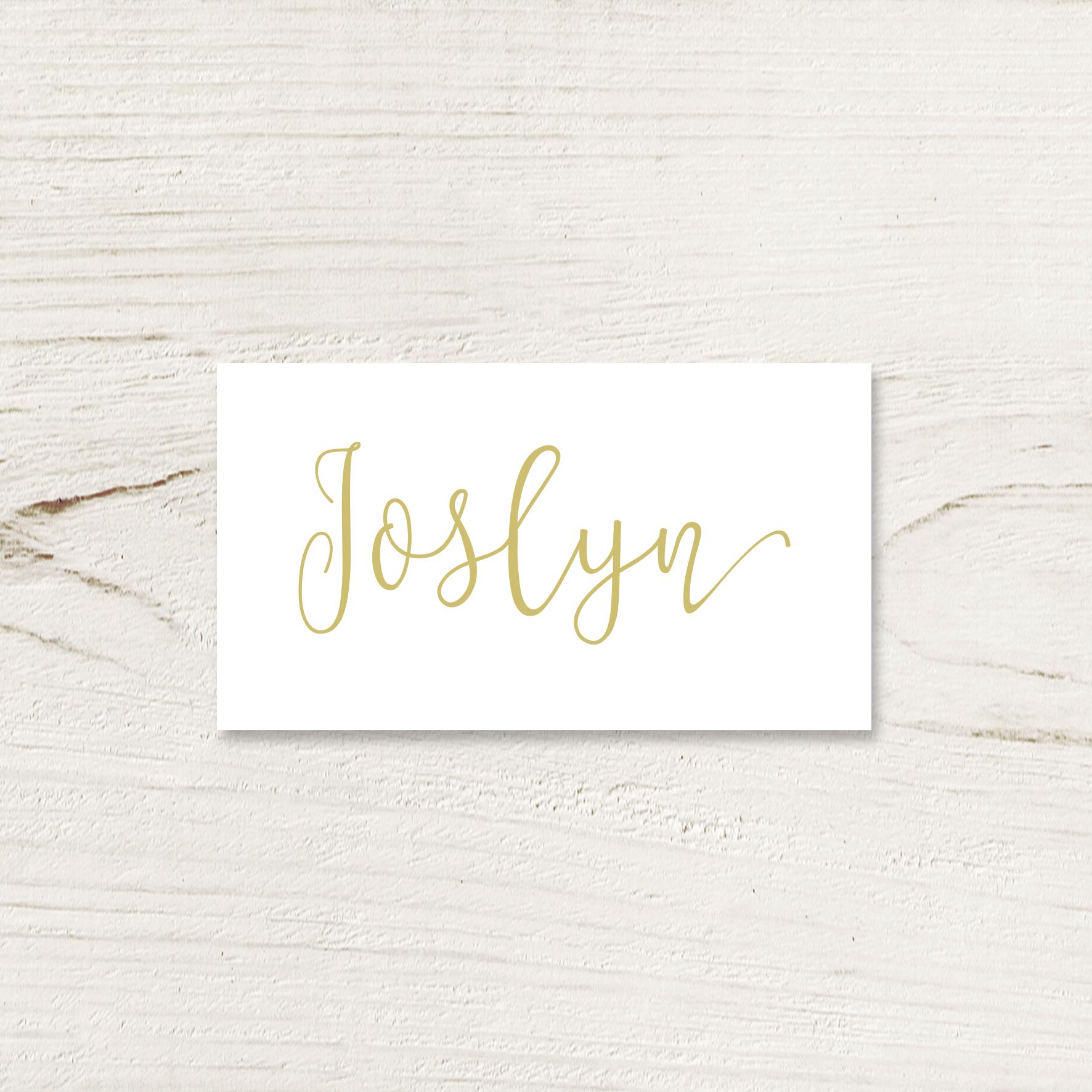 Gold Script Place Card
