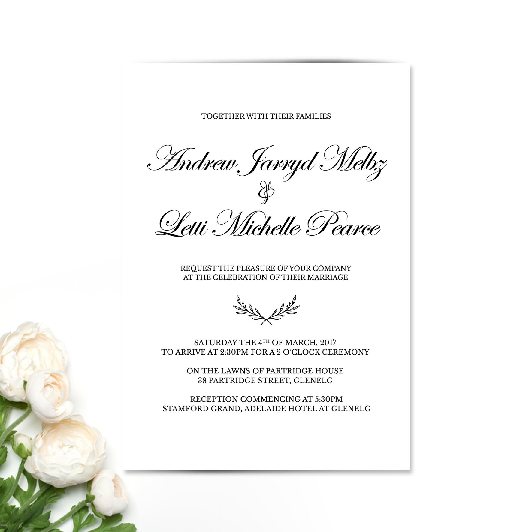 Letti + Andrew Wedding Invitation