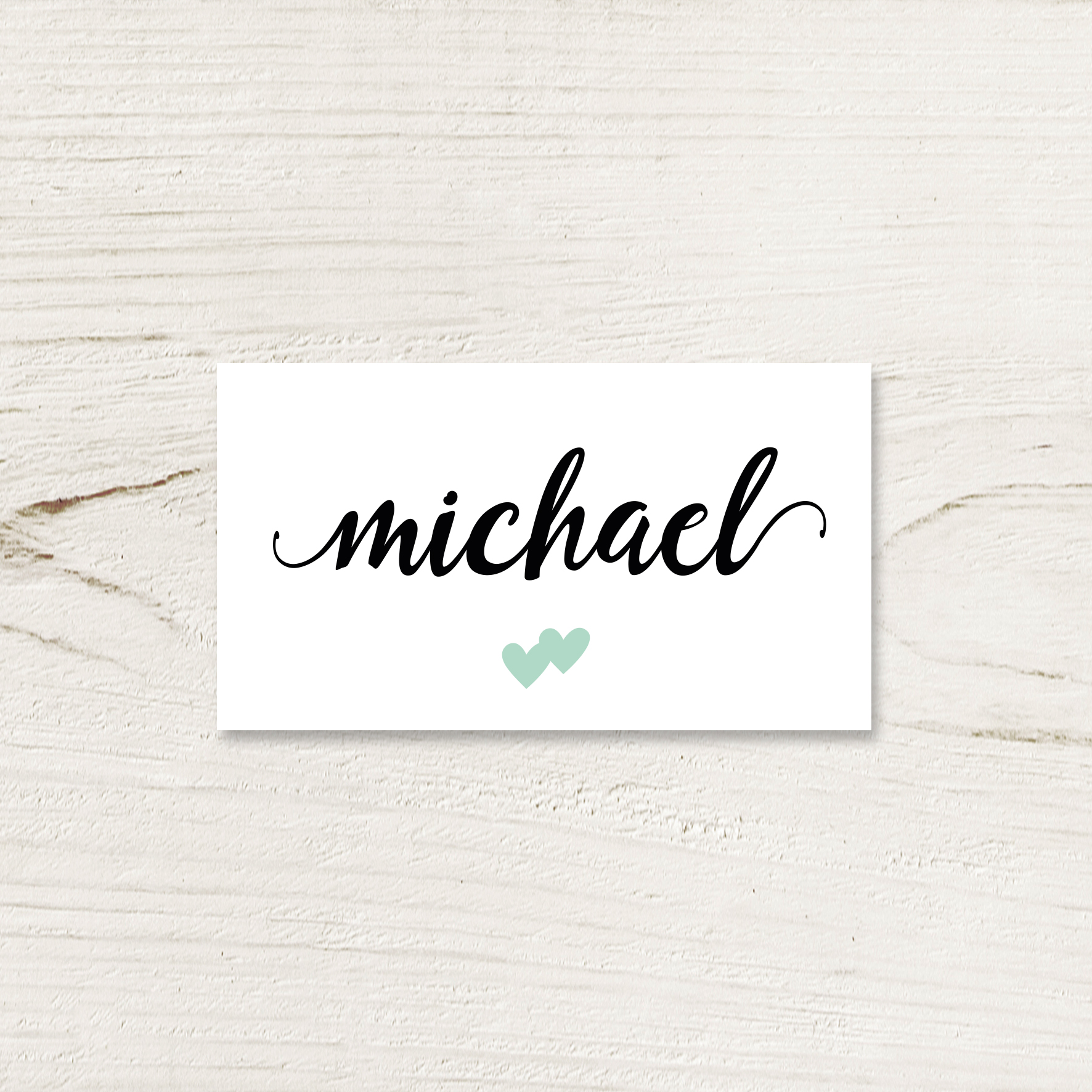 Mint Green Hearts Place Card