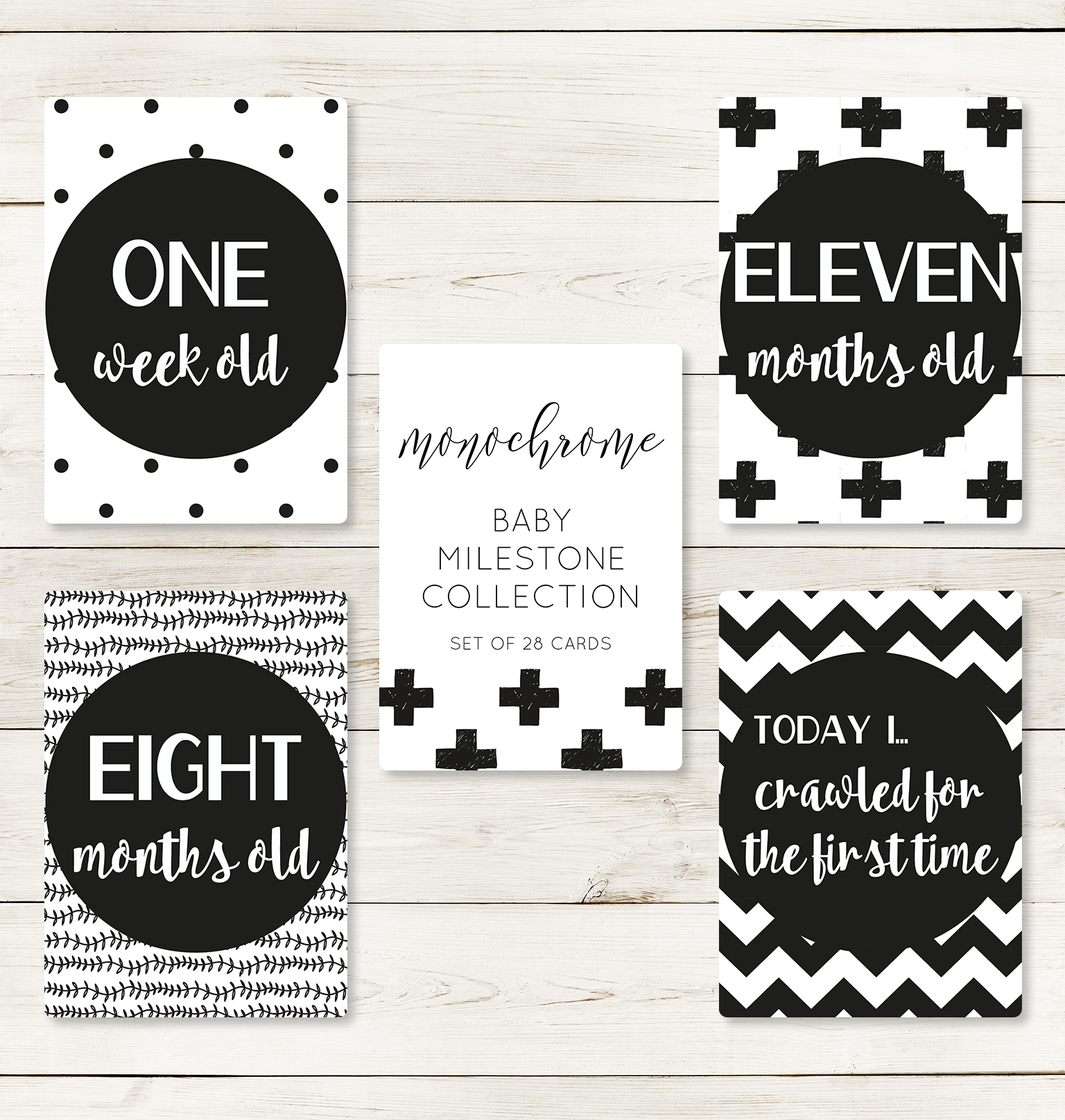 Monochrome Milestone Cards