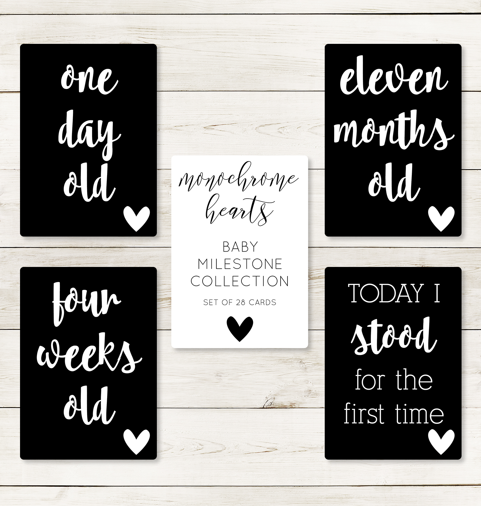 Monochrome Hearts Milestone Cards