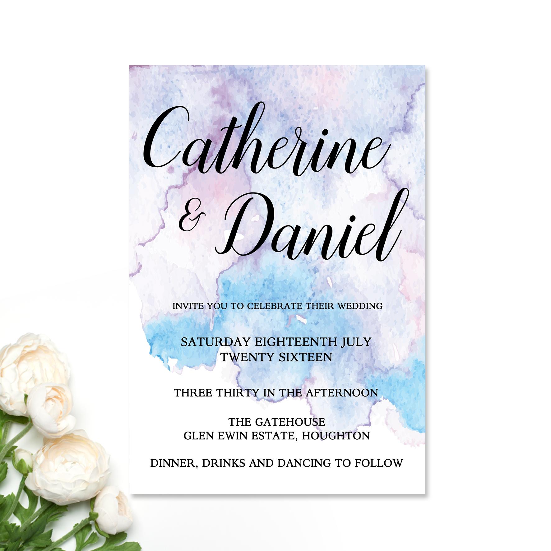 Purple + Teal Splash Wedding Invitation