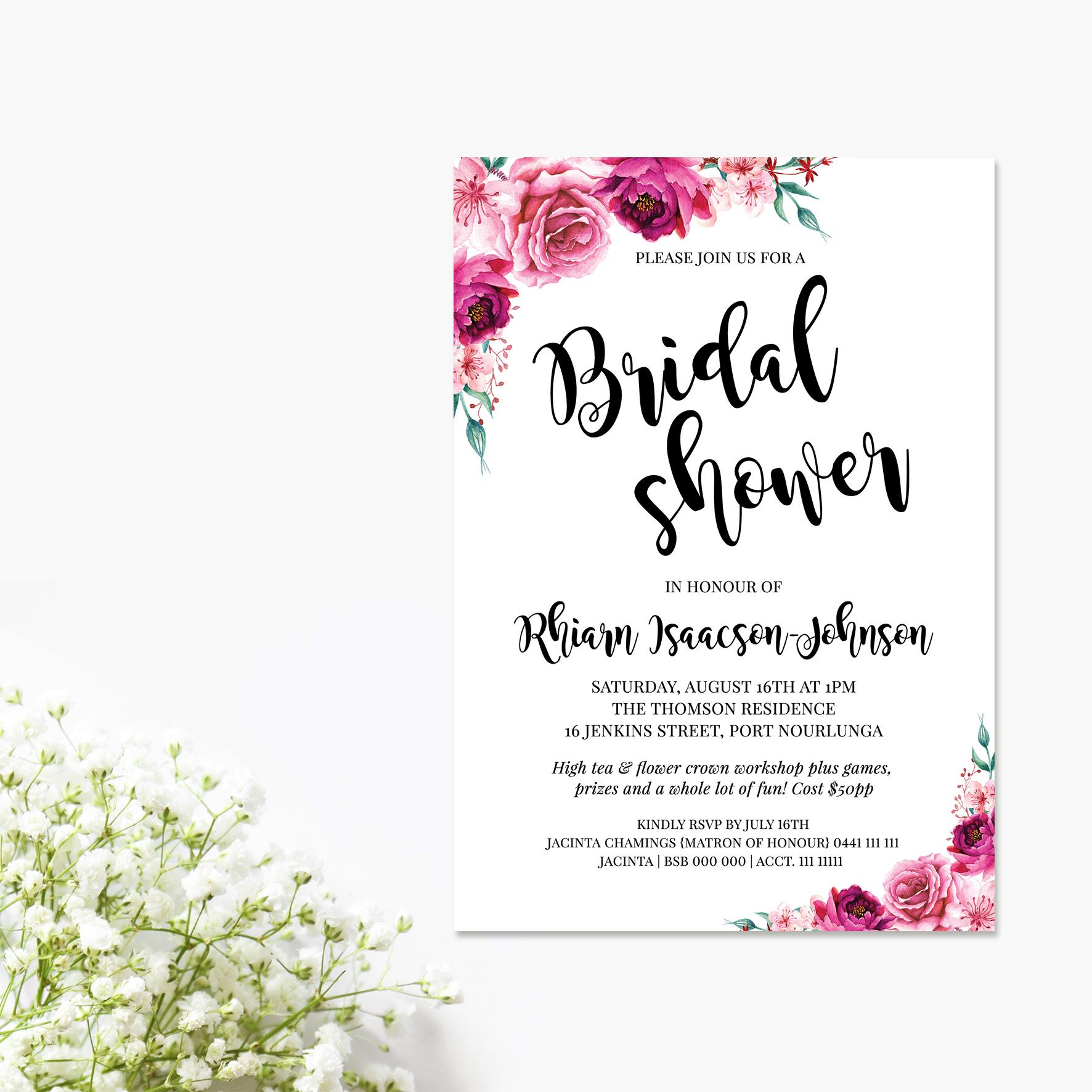 Fuchsia Floral Bridal Shower