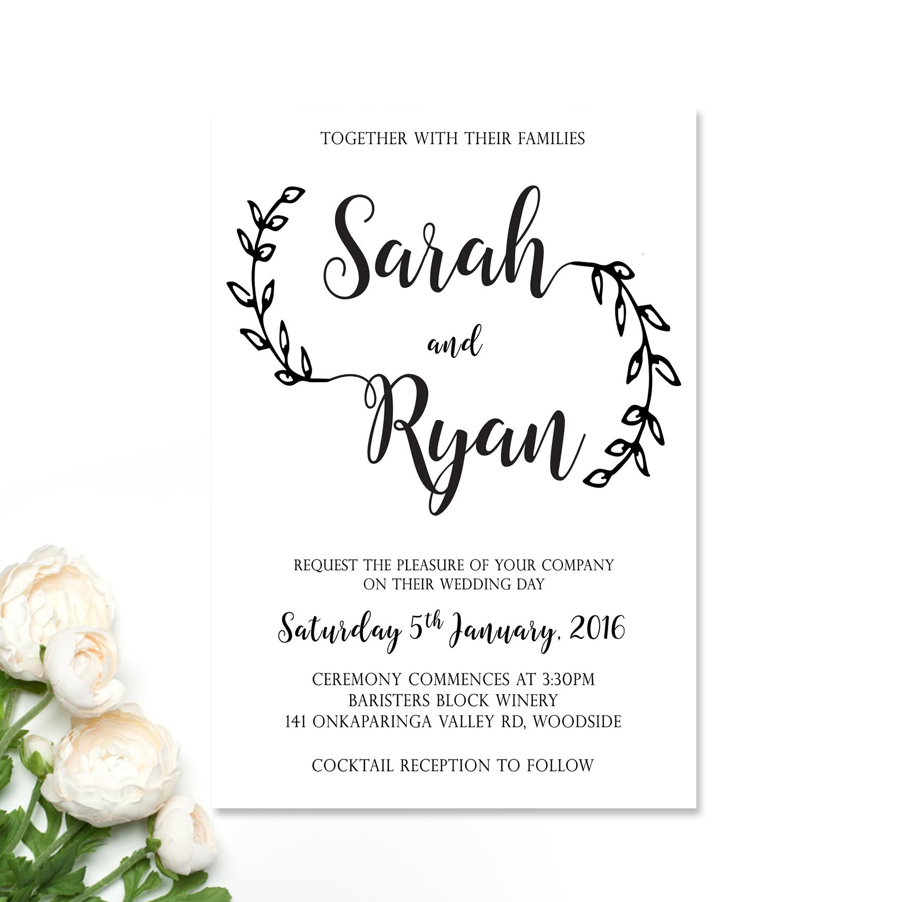 Sarah + Ryan Wedding Invitation