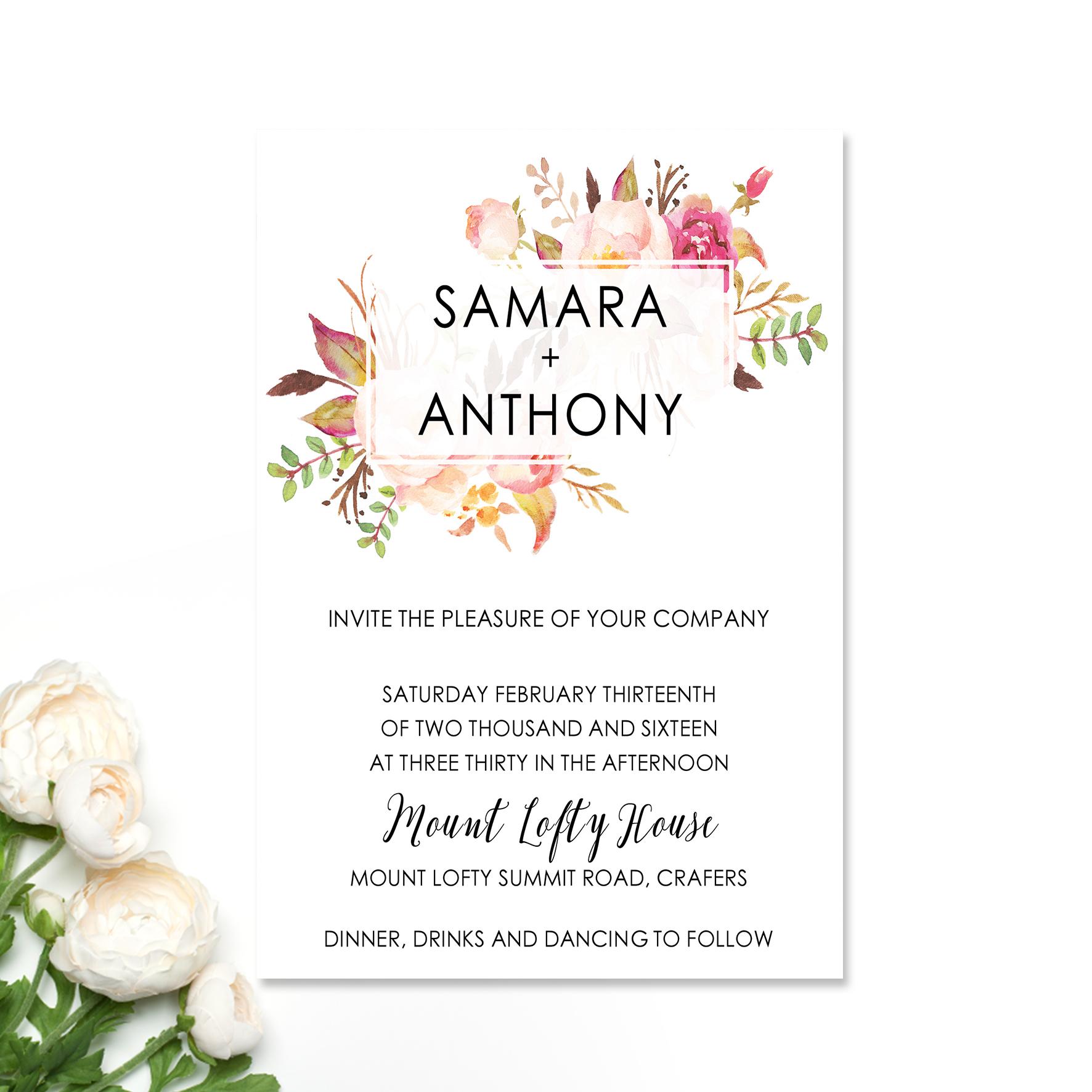 Samara + Anthony Wedding Invitation
