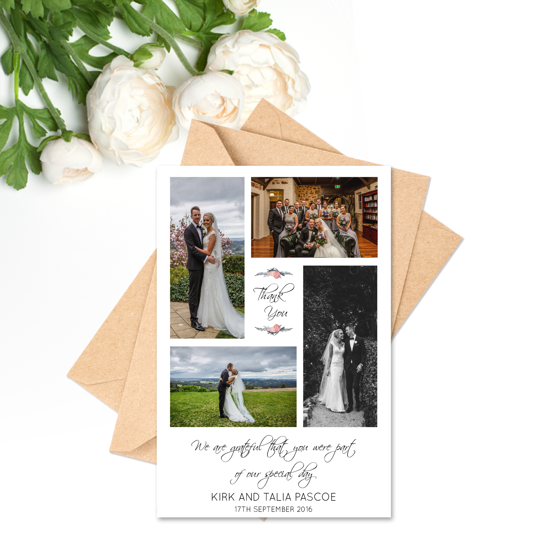 Mr + Mrs Pascoe Thank You Card