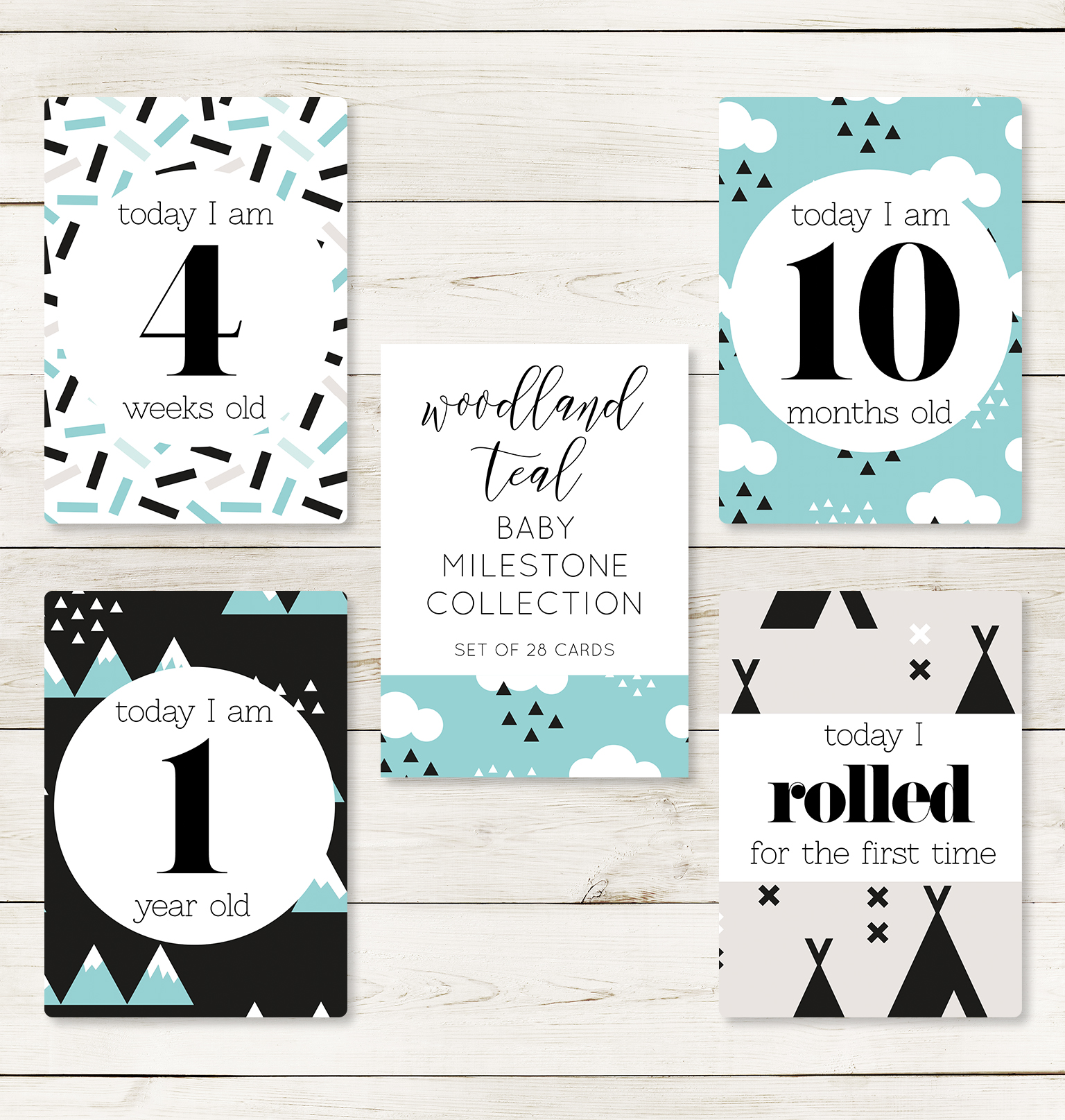 Woodland Teal Milestone Cards
