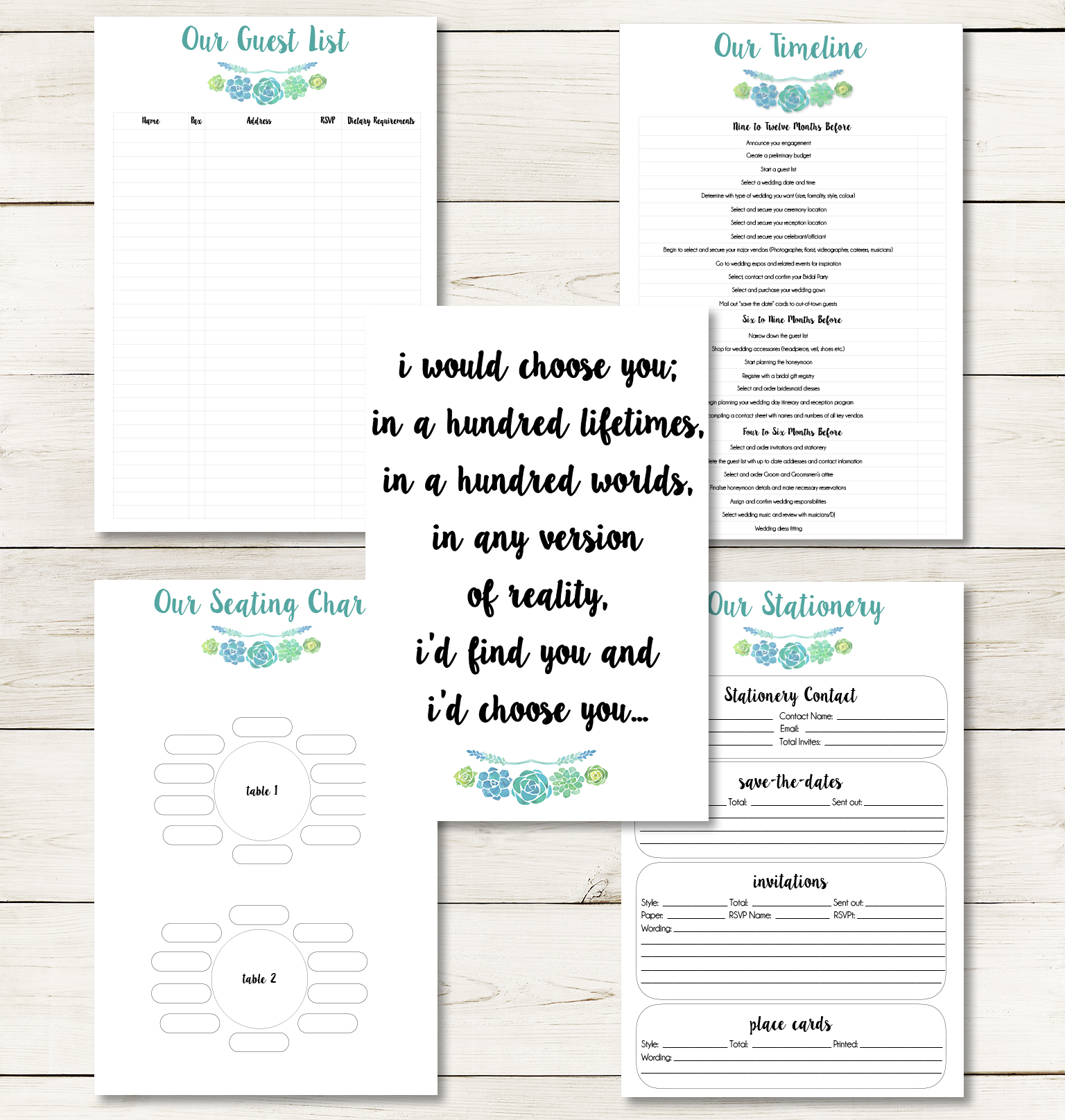 wedding planning pages