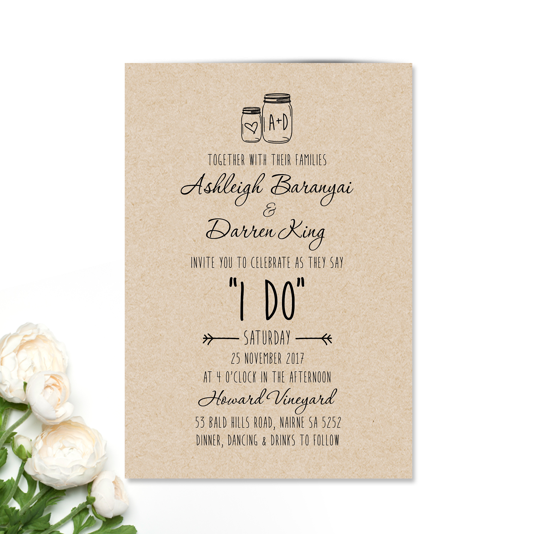 Ashleigh + Darren Wedding Invitation