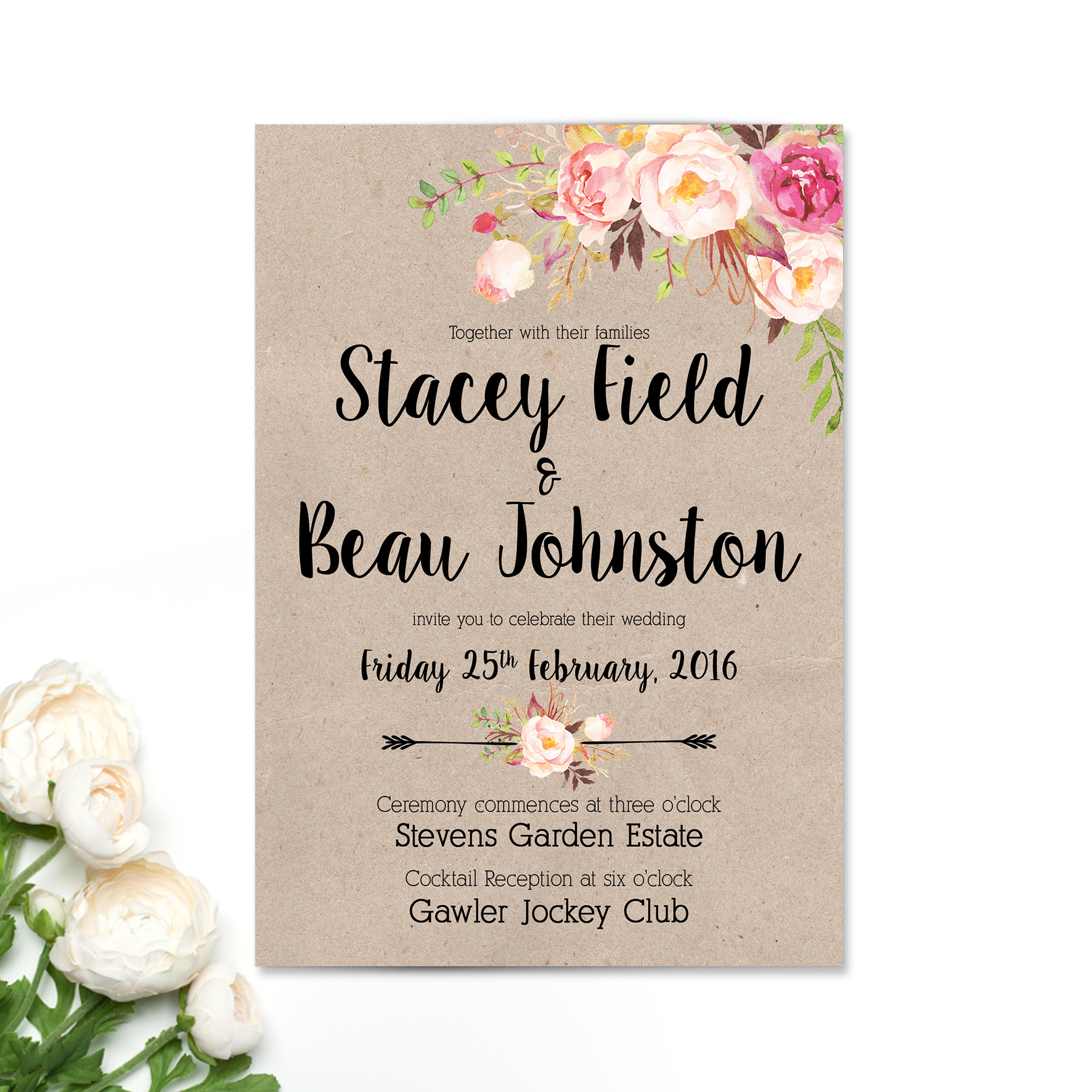 Stacey + Beau Wedding Invitation