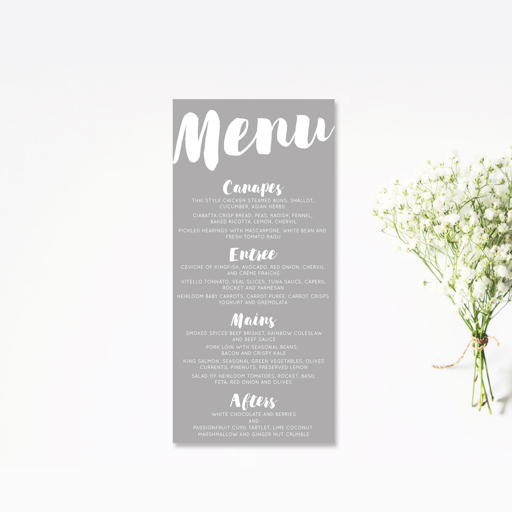 White Brush Script Menu