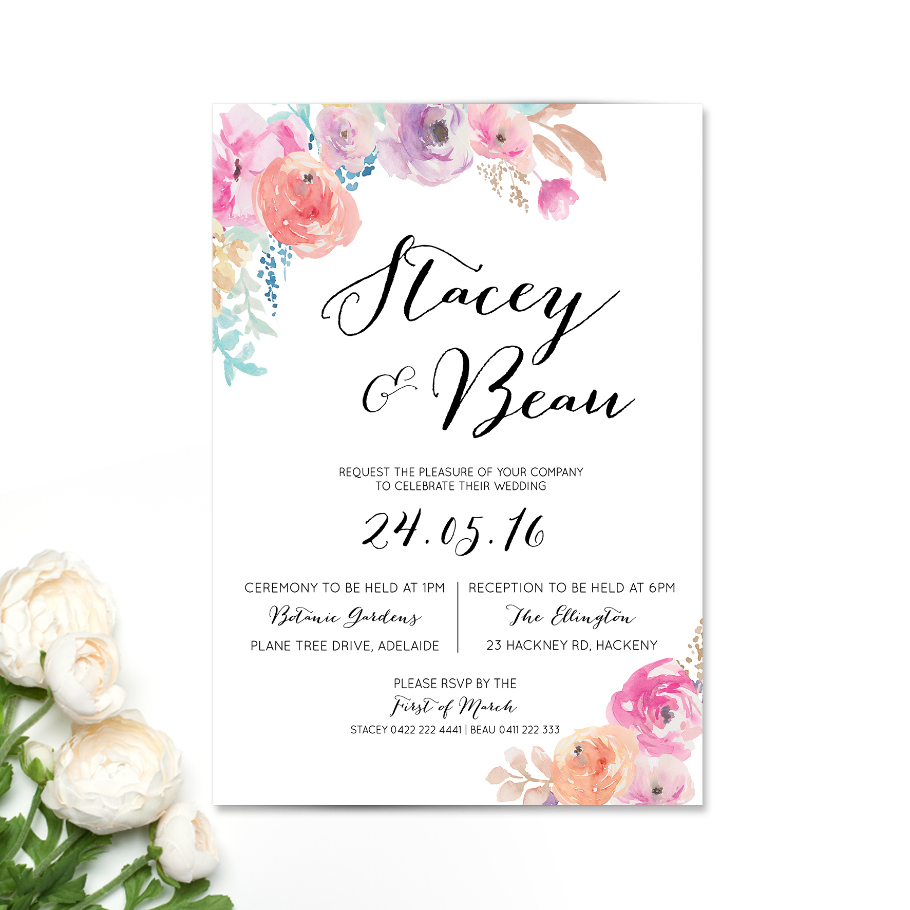 Rosey Watercolour Wedding Invitation