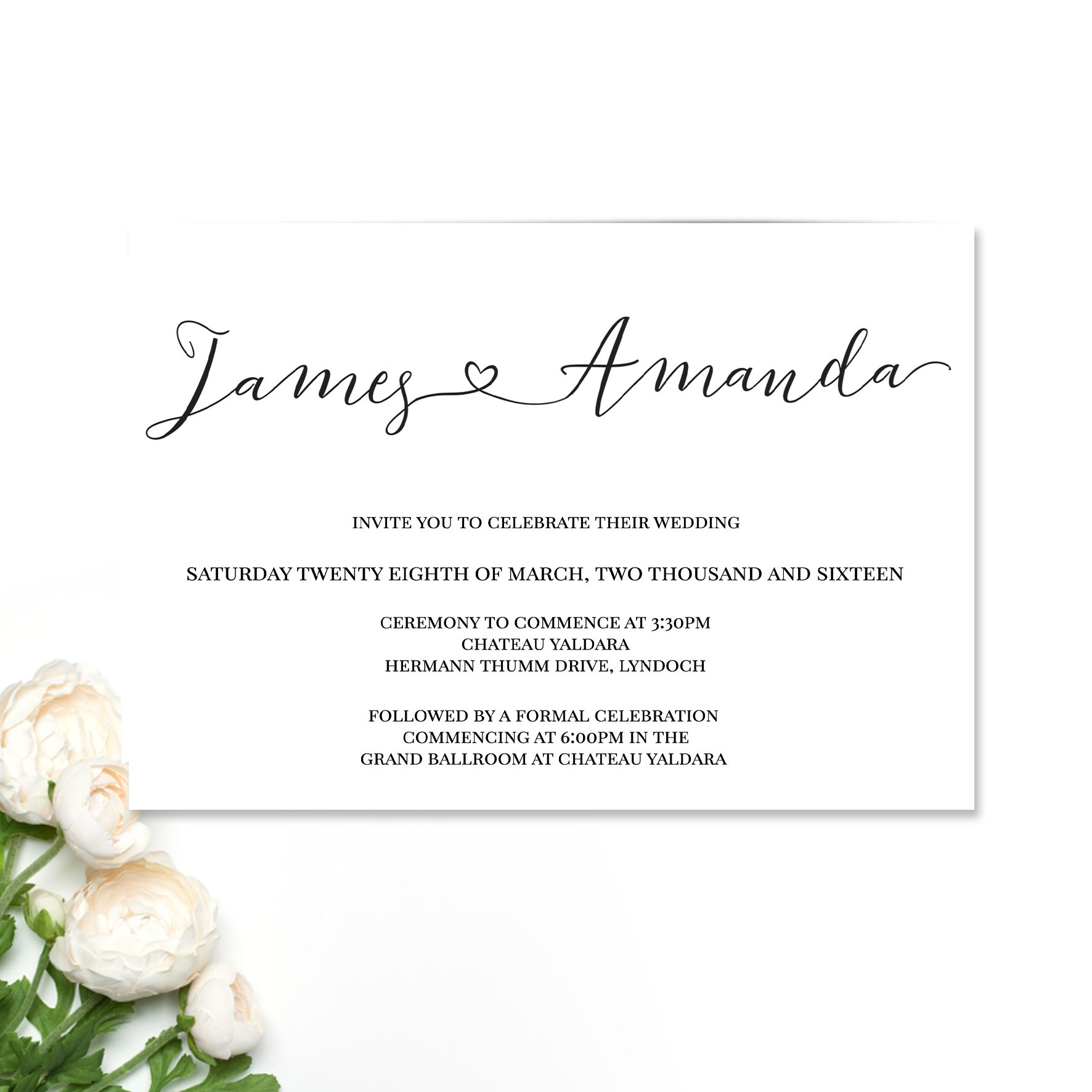 James + Amanda Wedding Invitation