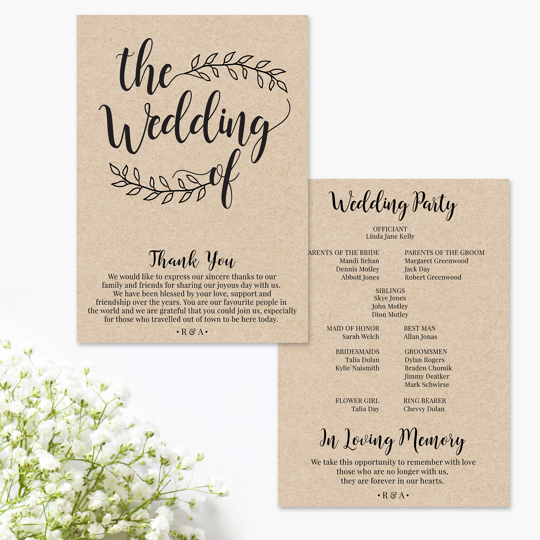 Rustic - Wedding Program