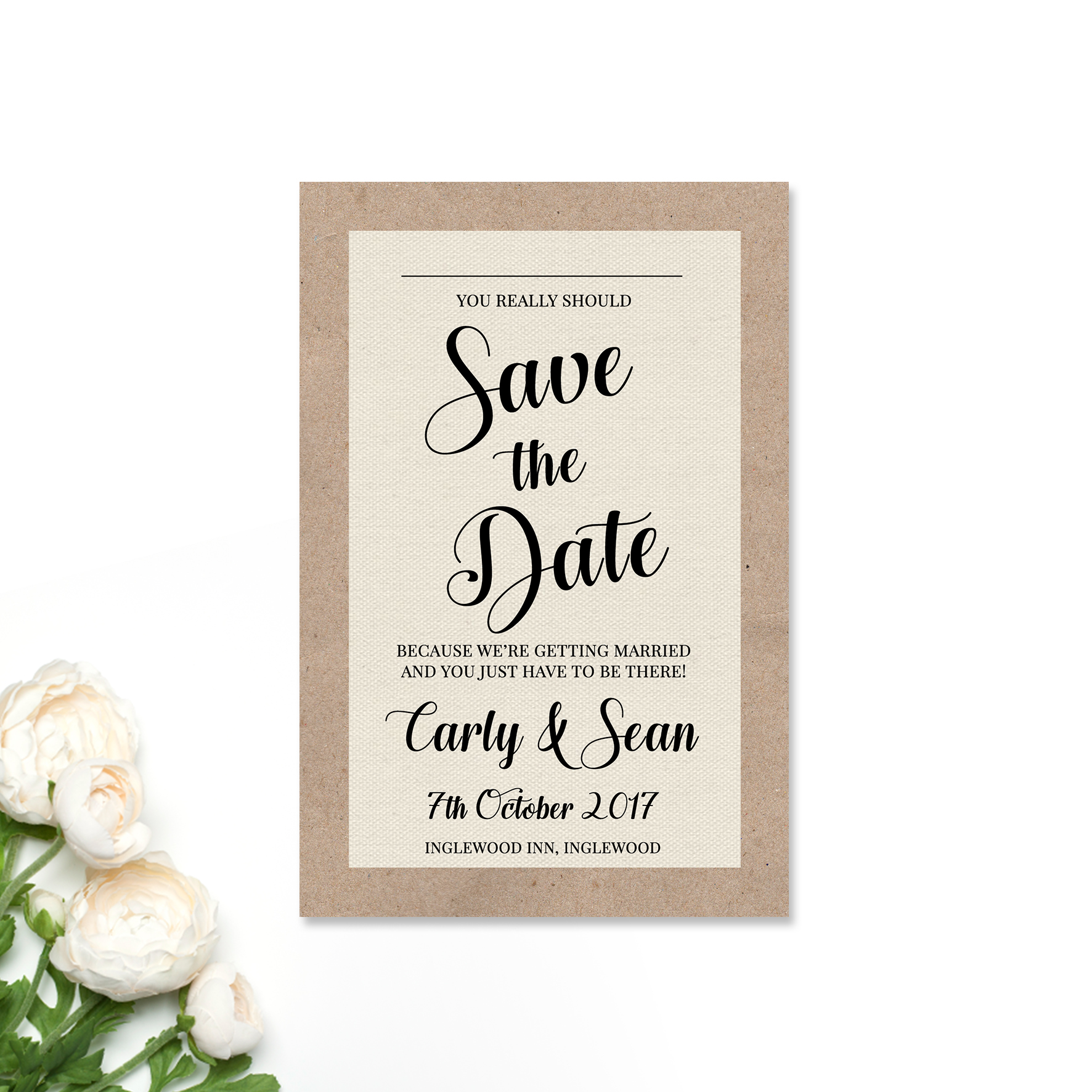 Carly + Sean Save the DAte Card