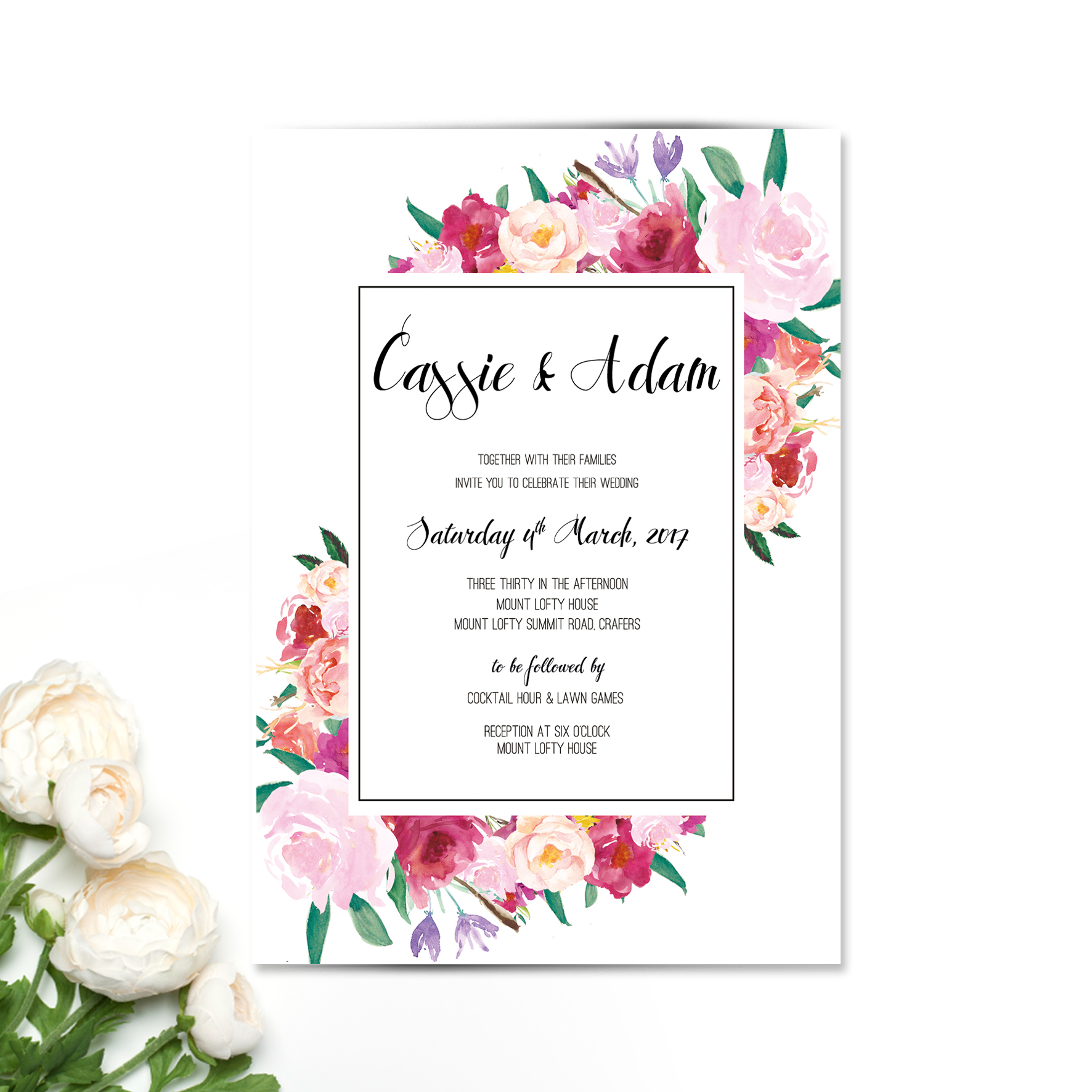 Rosey Burst Wedding Invitation