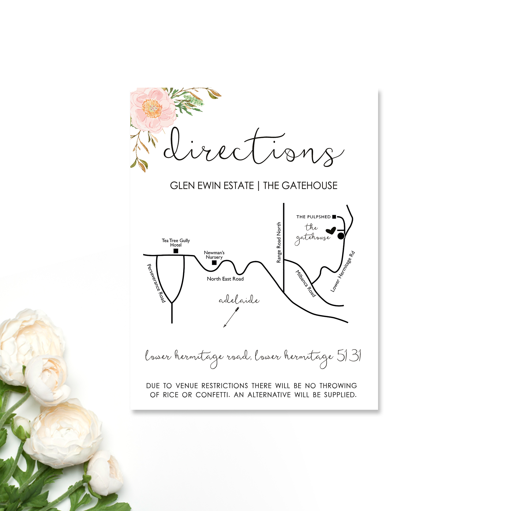 Amanda + Brett Directions Card