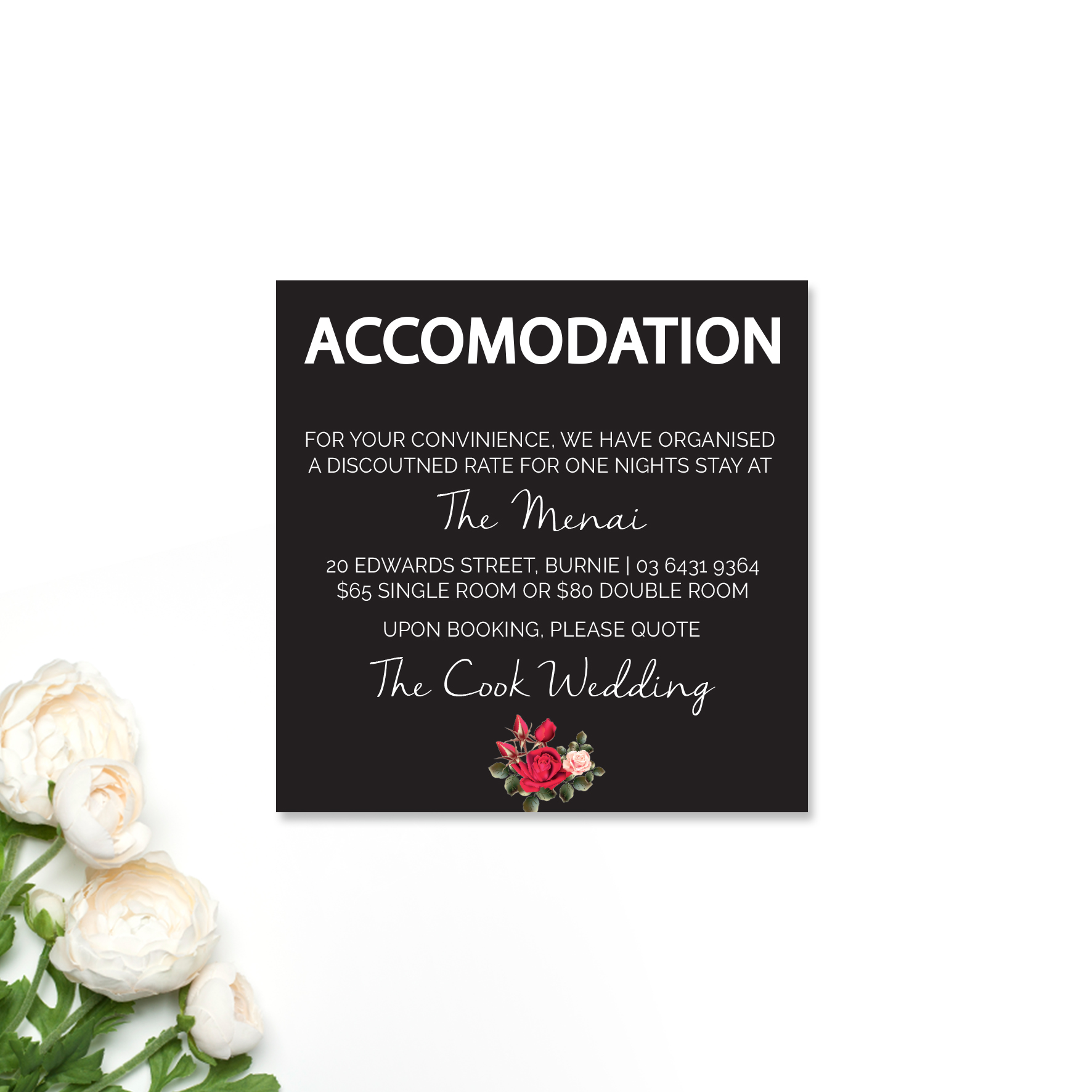 Louise + Simon Accomodation Card