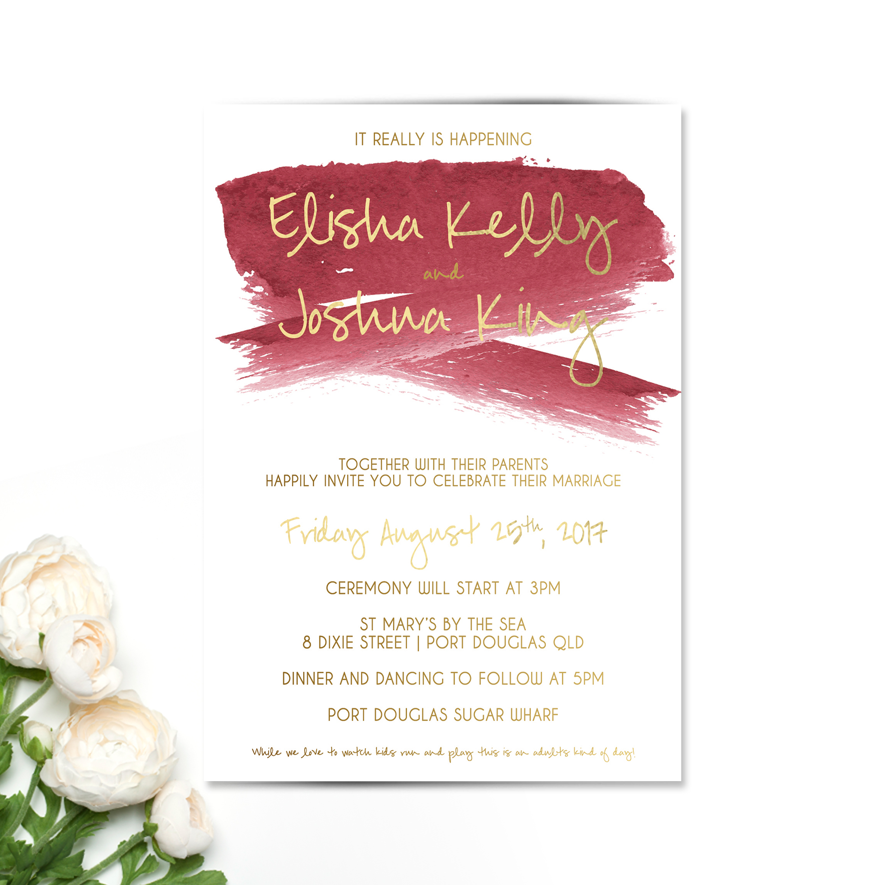 Burgundy + Gold Splash Wedding Invitation