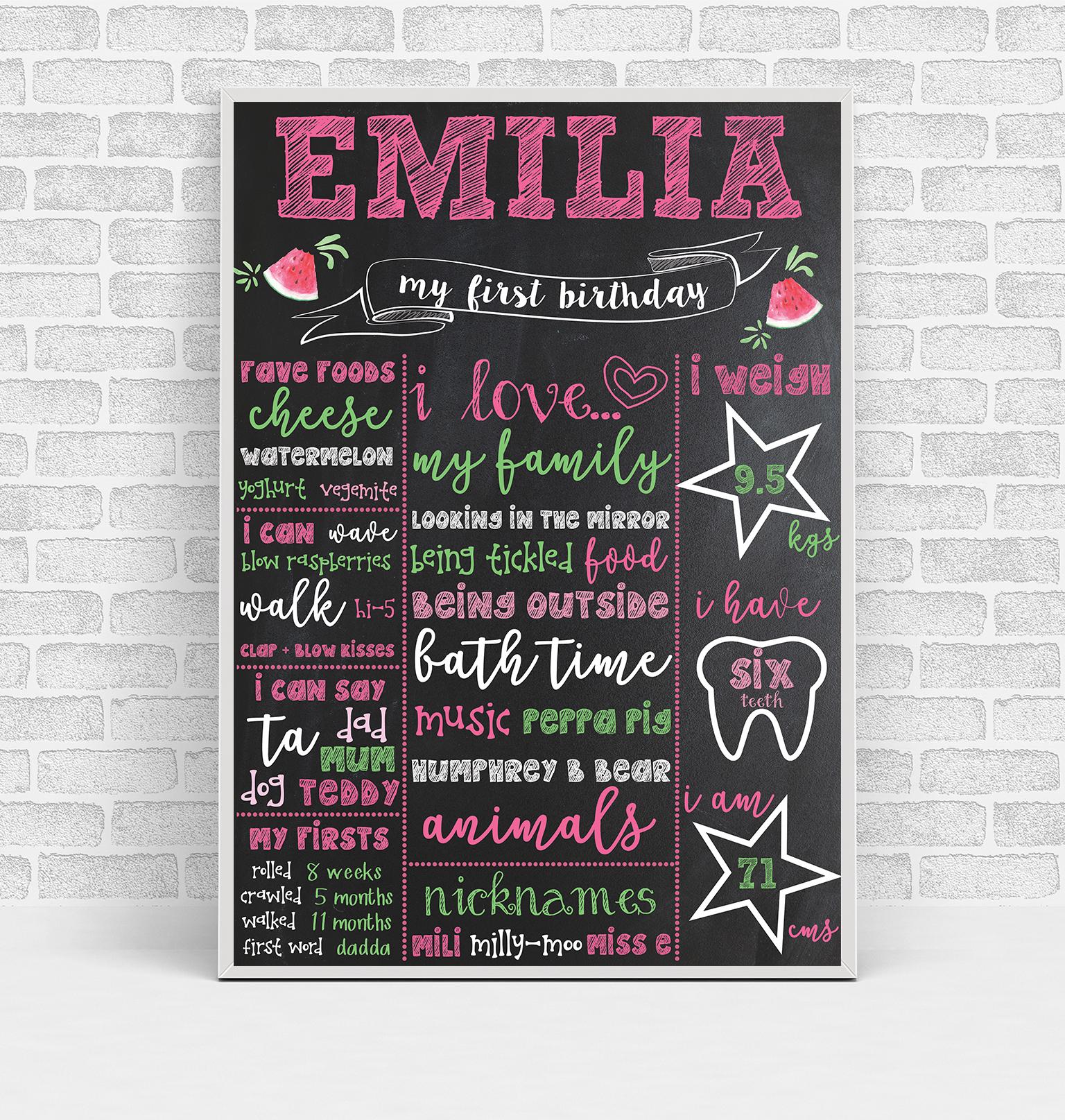 Emilia Birthday Board