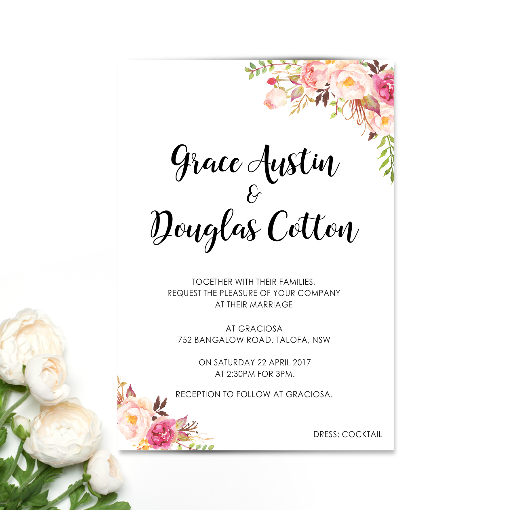 Romantic Blooms Wedding Invitation