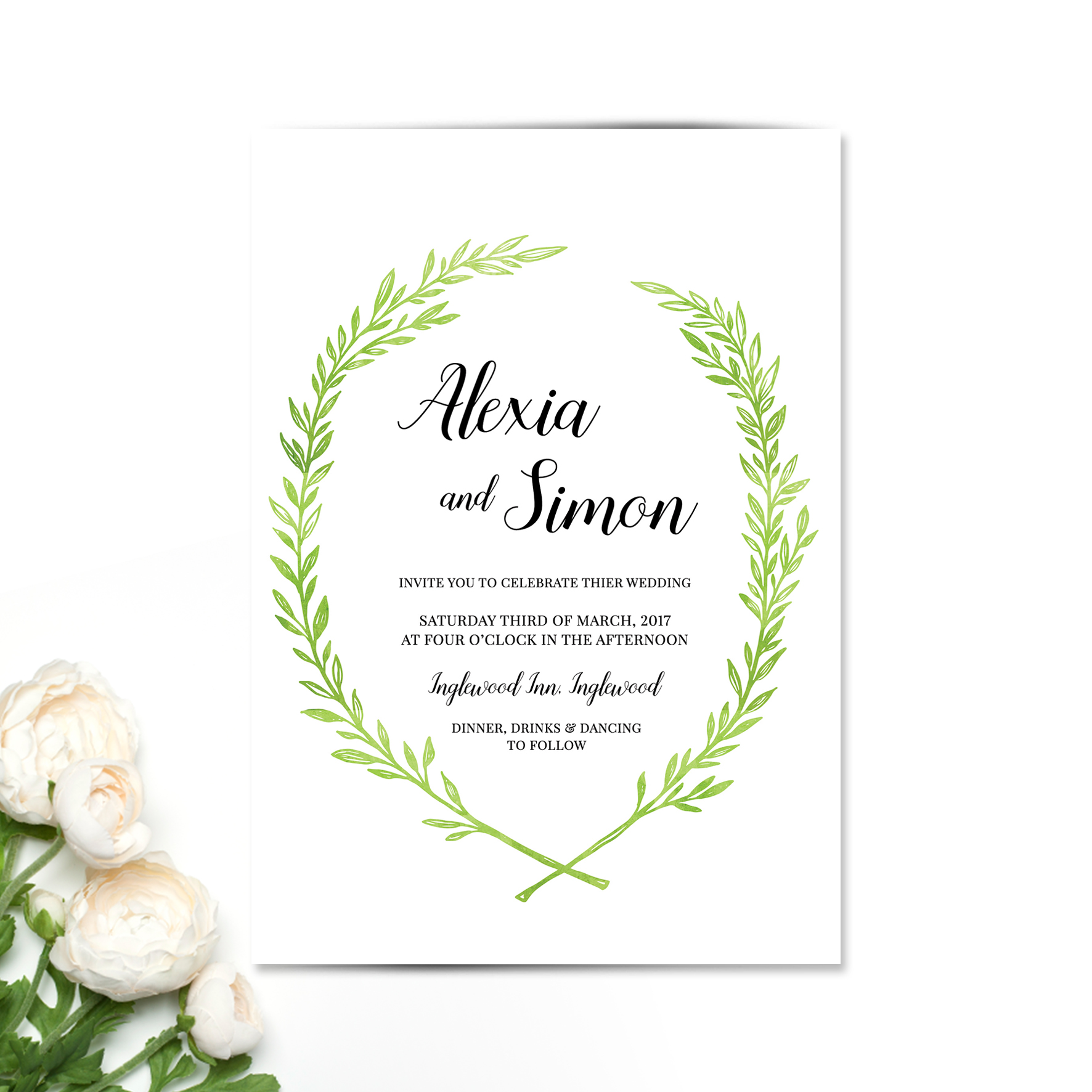 Fern Wreath Wedding Invitation