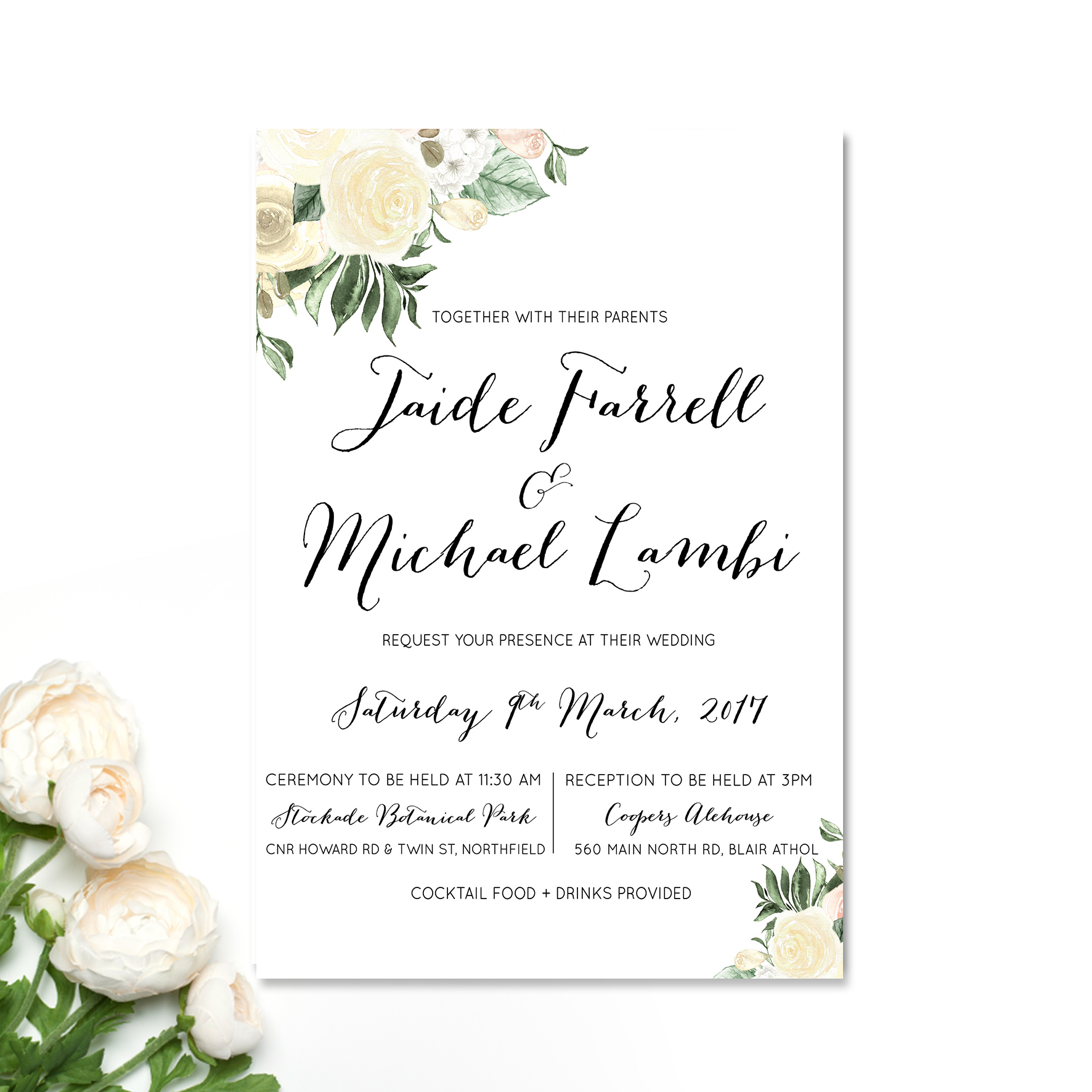 Garden Peonies Wedding Invitation