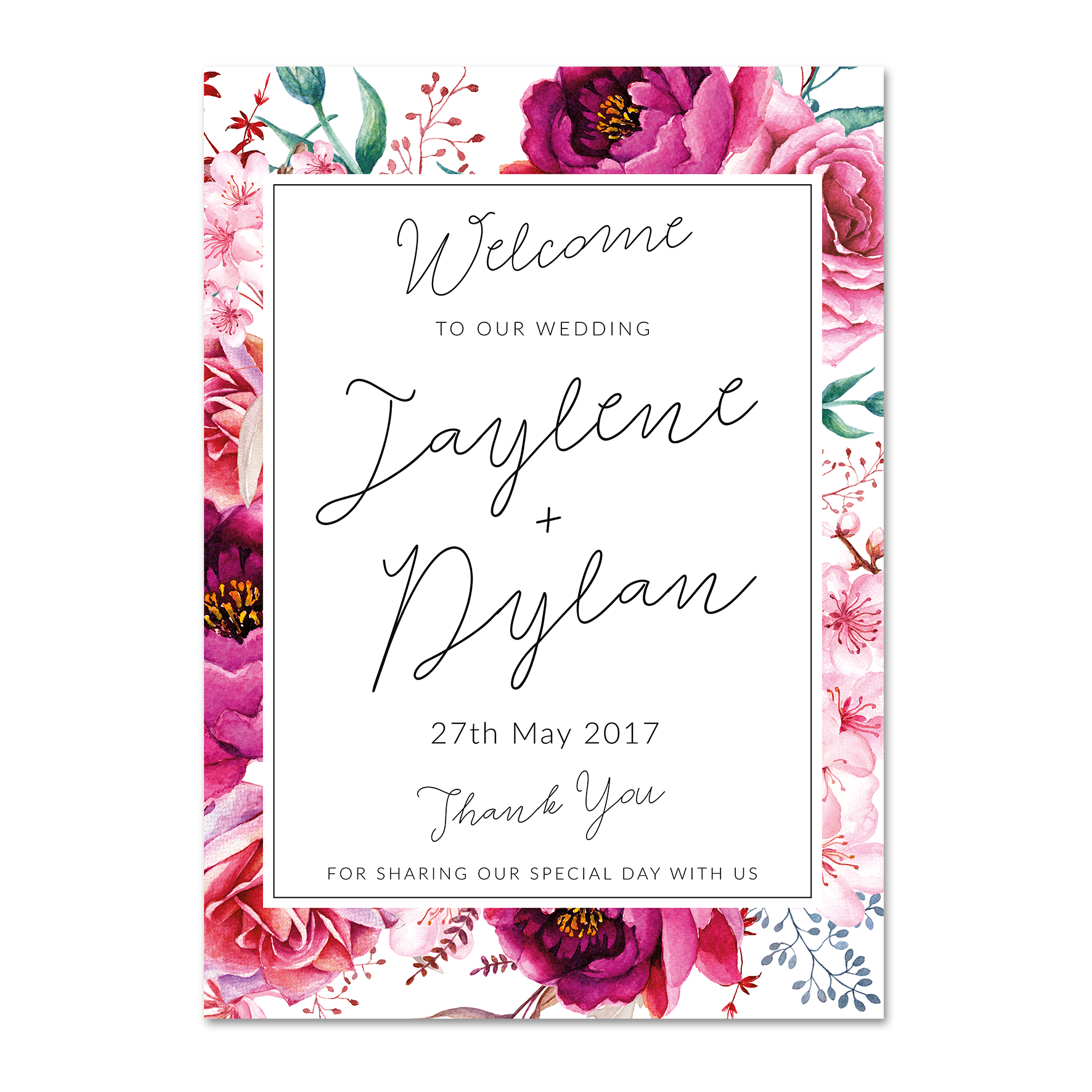Jaylene + Dylan Welcome Sign