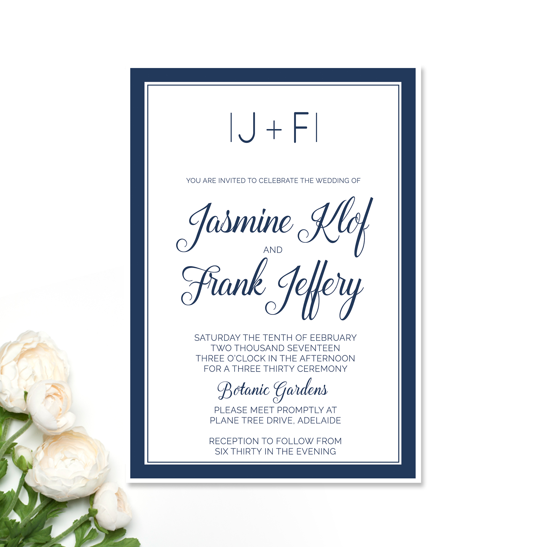 Jasmine + Frank Wedding Invitation