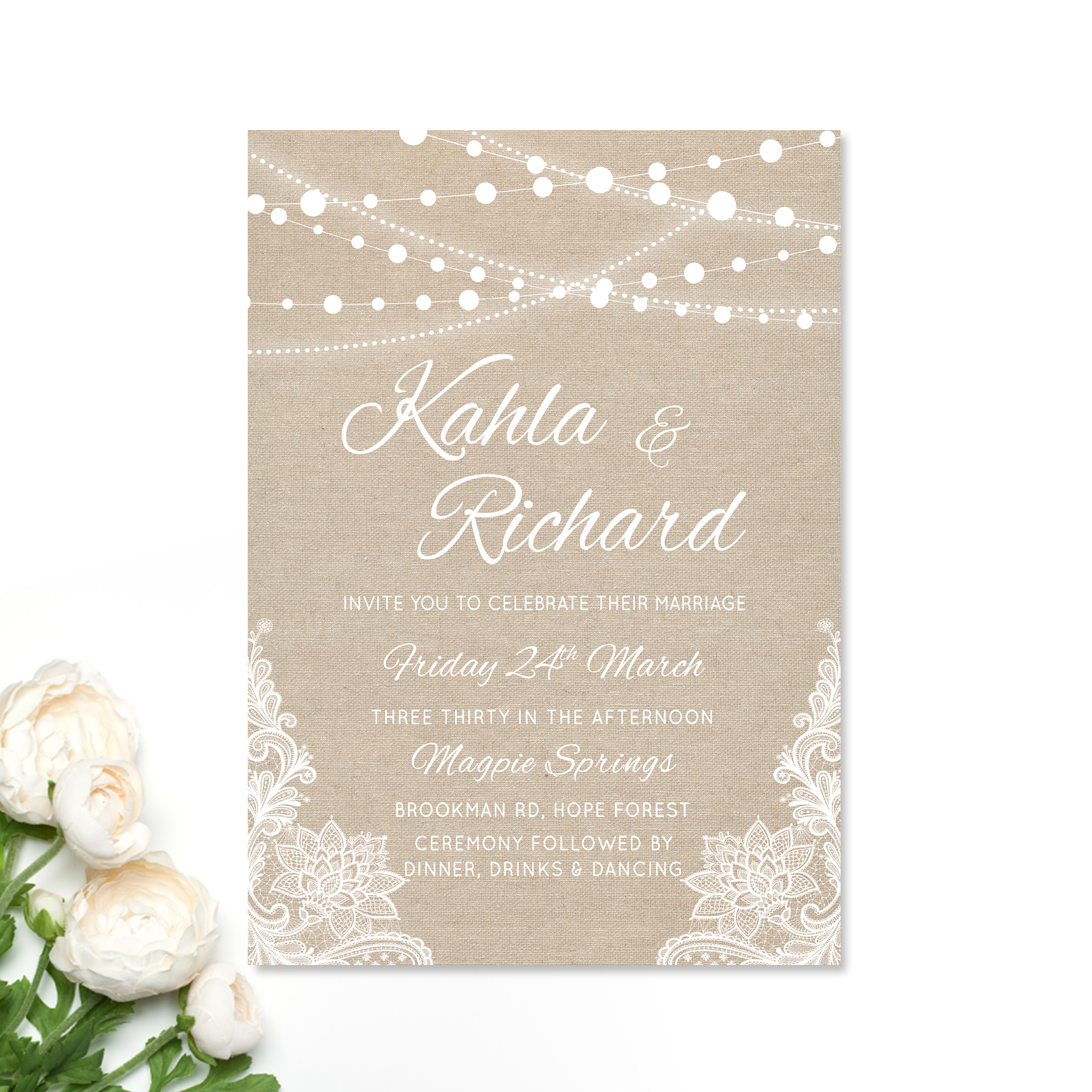 Kahla + Richard Wedding Invitation