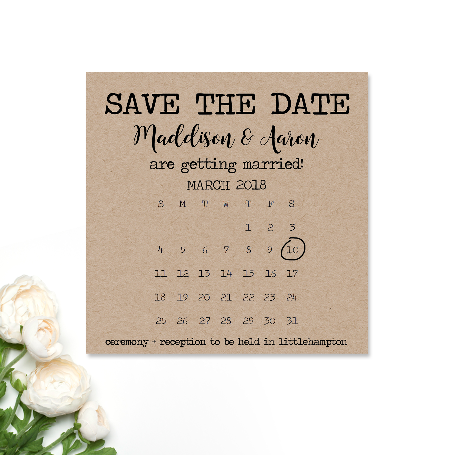 Maddison + Aaron Save the Date Card