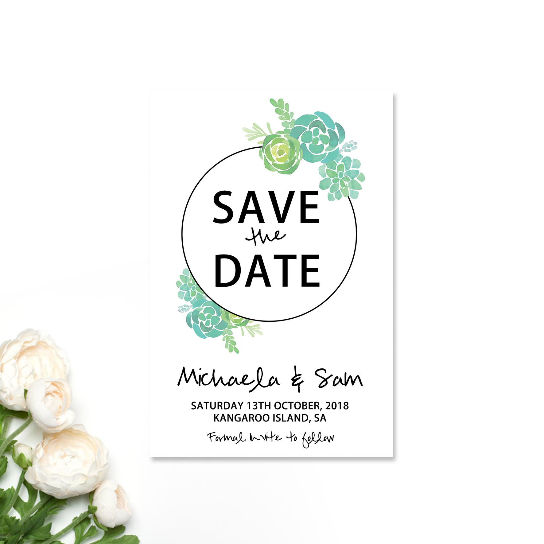 Michaela + Sam Save the Date Card