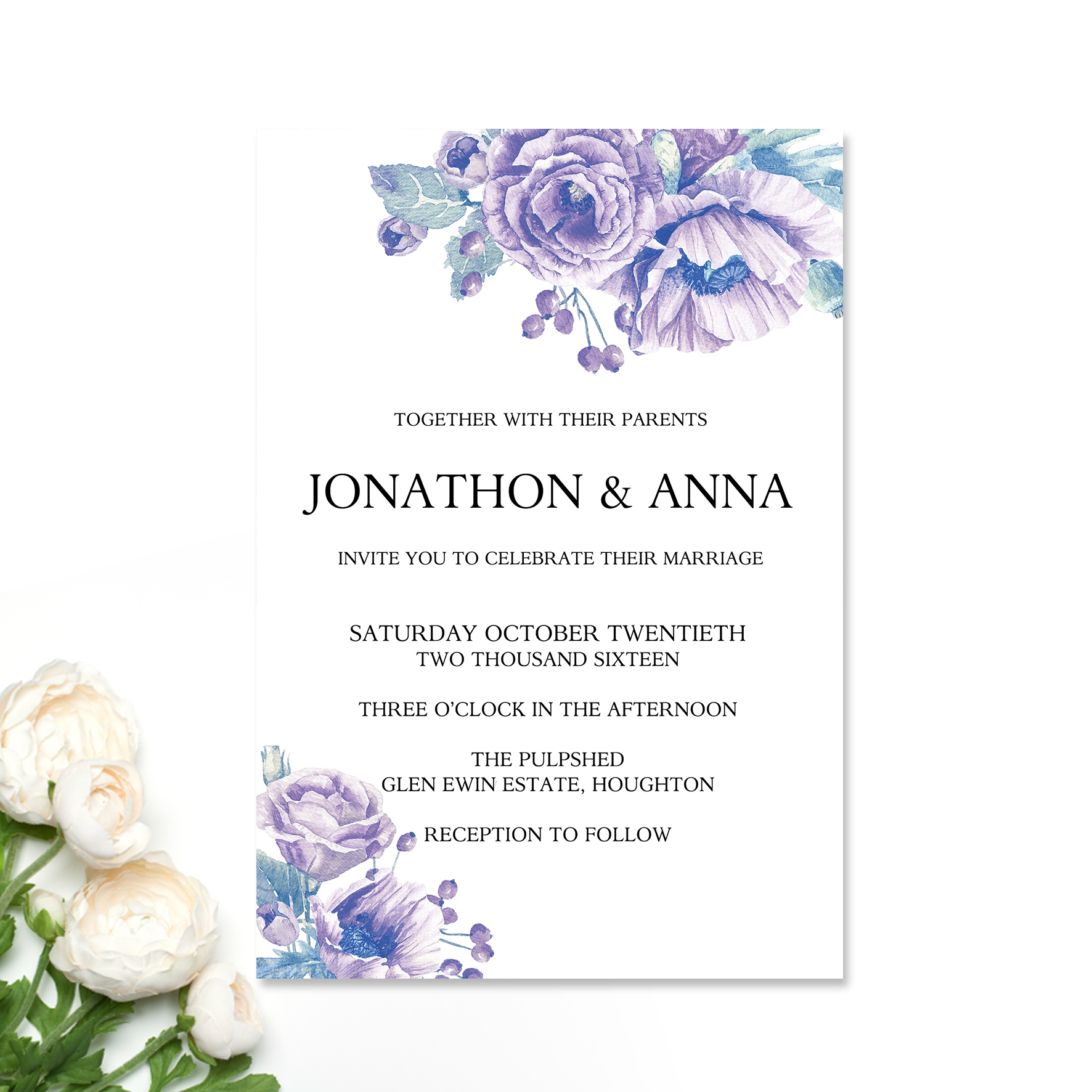 Lilac Peonies Wedding Invitation