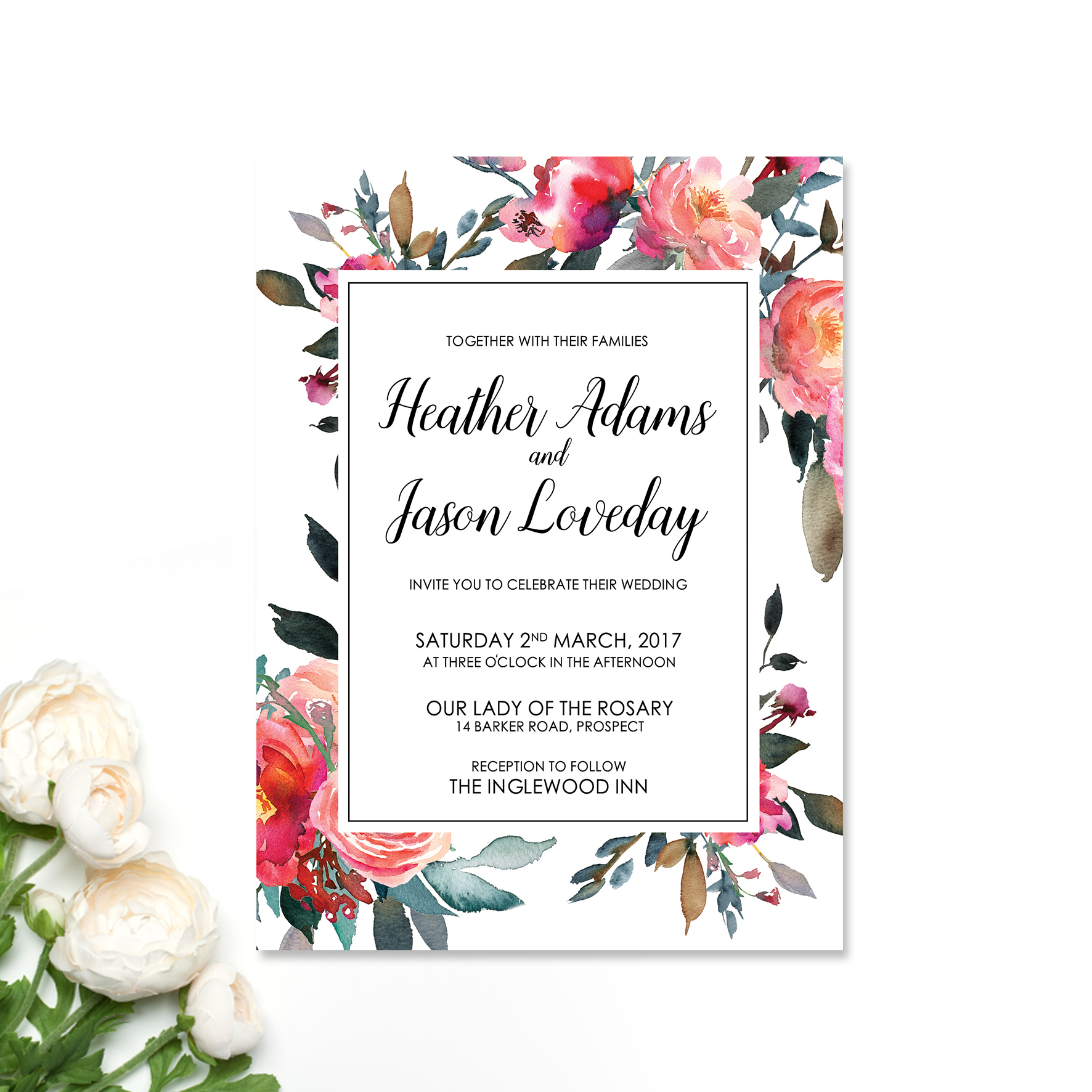 Wintery Floral Wedding Invitation