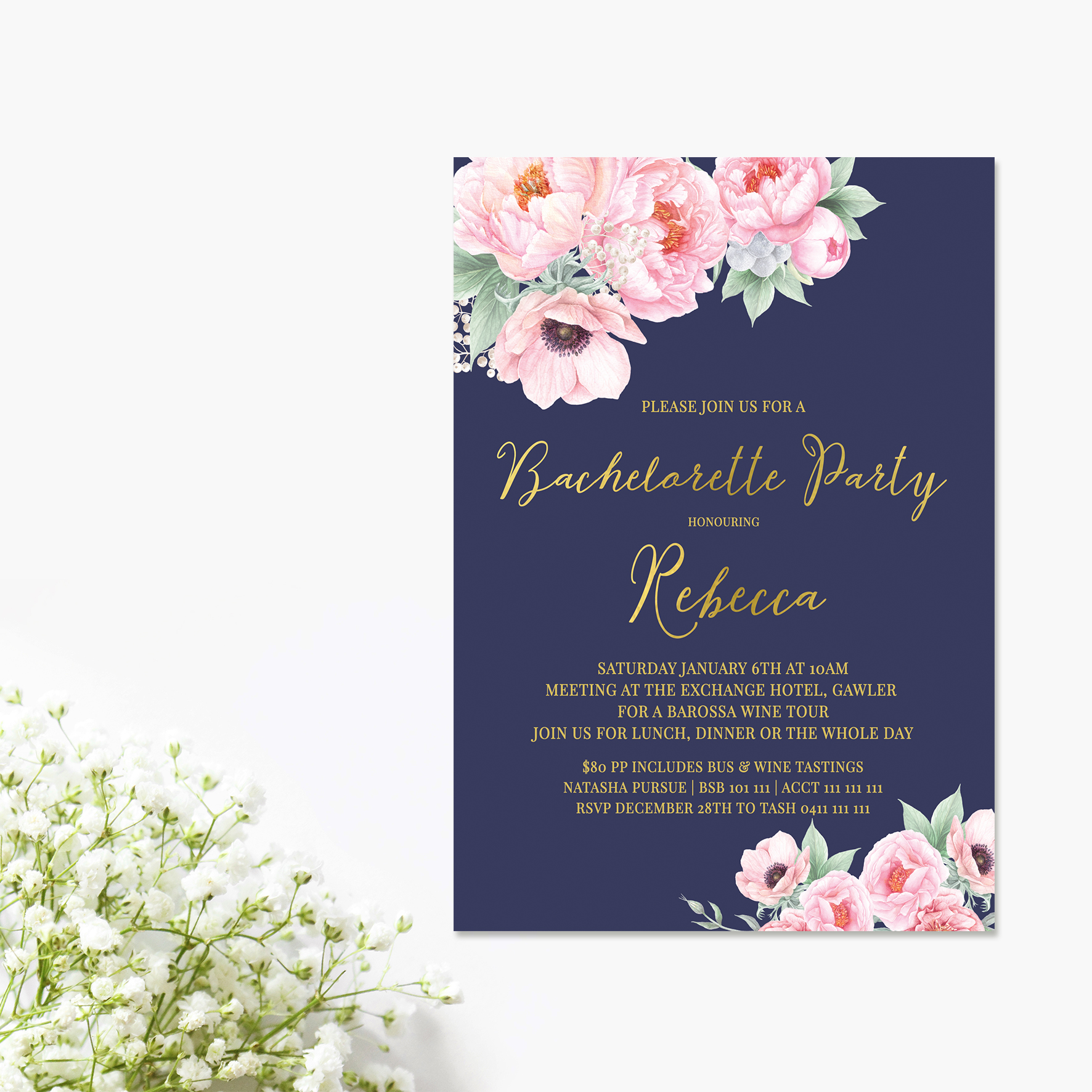 Navy + Pink Peonies Bridal Shower