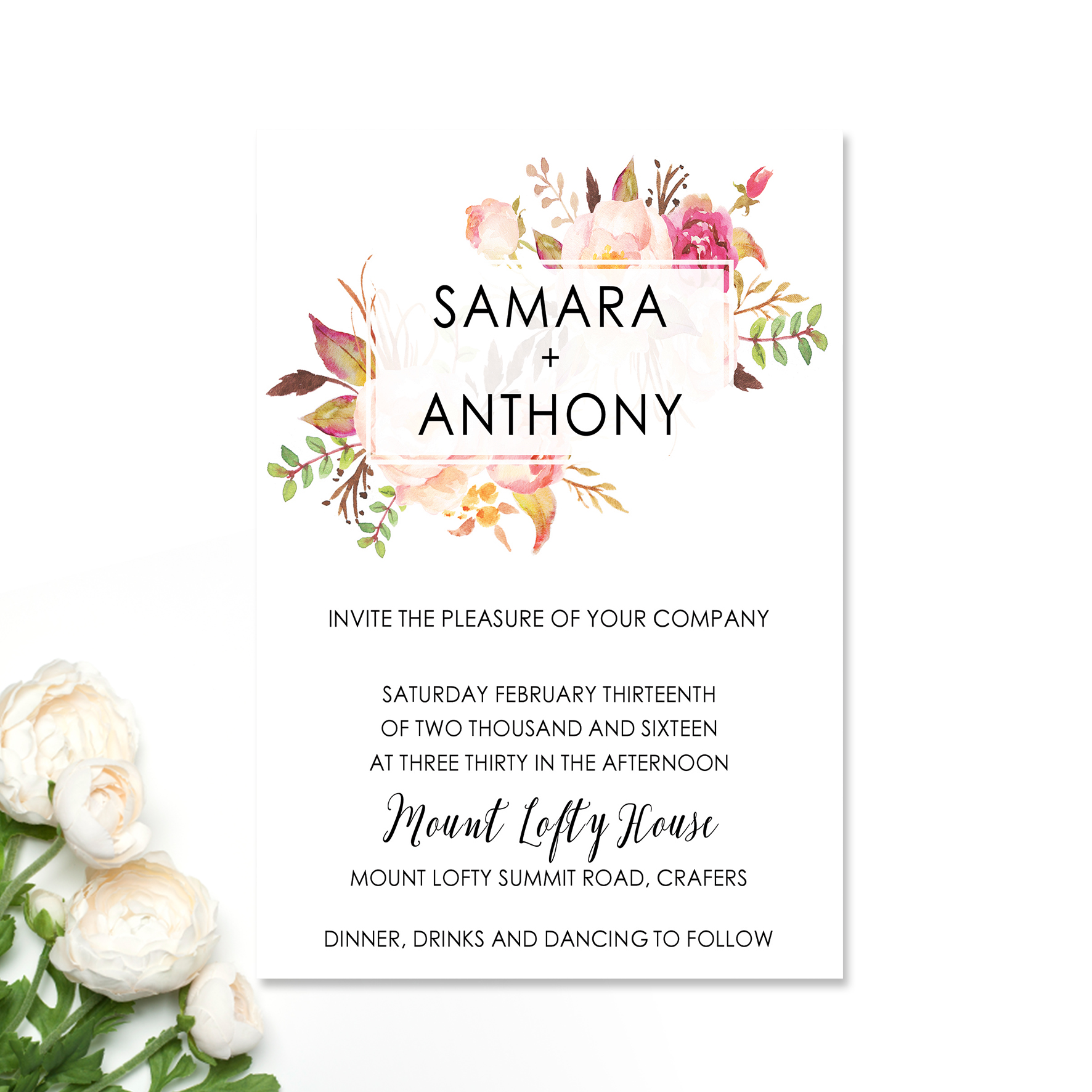 Samara + Anthony Wedding Invitation
