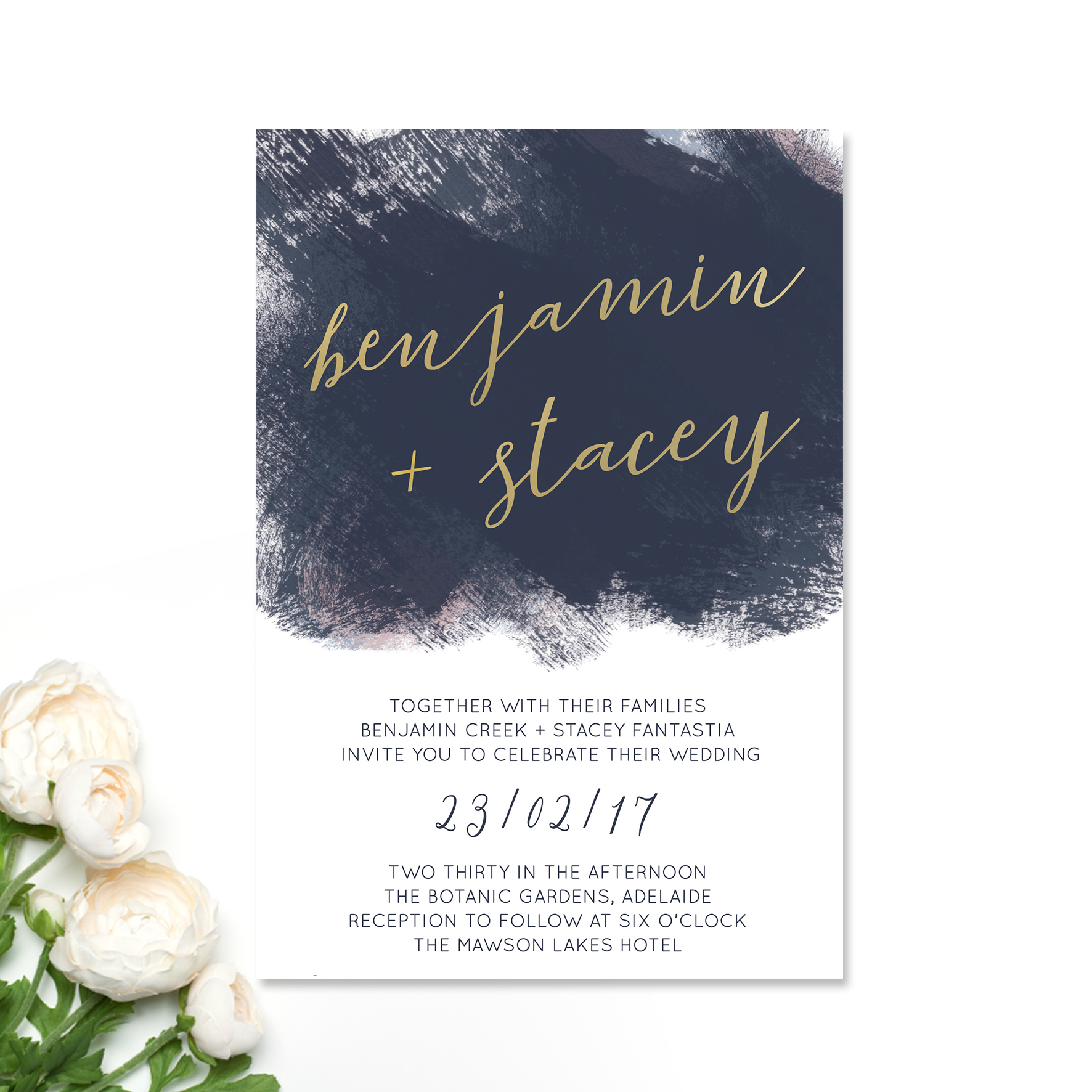 Navy + Blush Splash Wedding Invitation