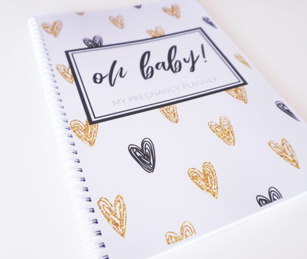 Black + Gold Hearts Pregnancy Planner Closeup