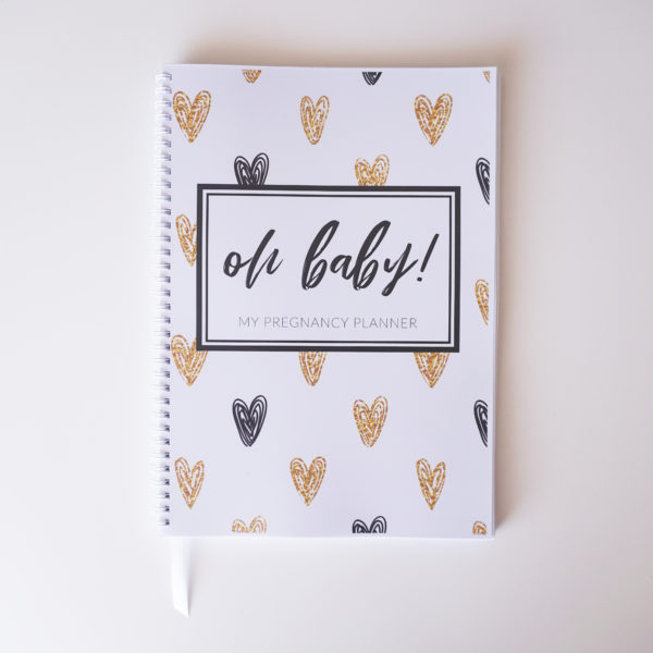 Black + Gold Hearts Pregnancy Planner Cover