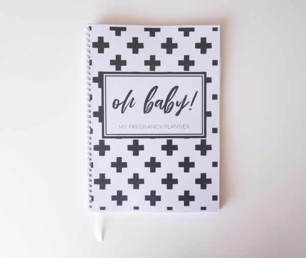 Monochrome Crosses Pregnancy Planner Cover