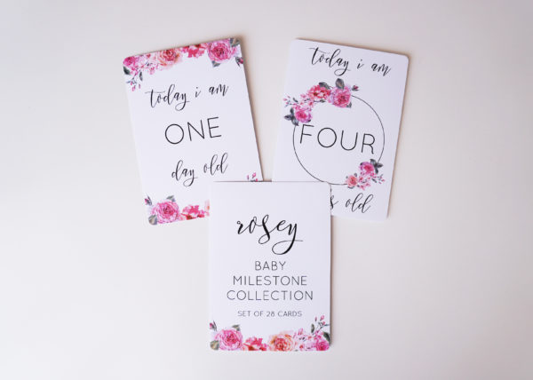 Rosey Baby Milestone Cards