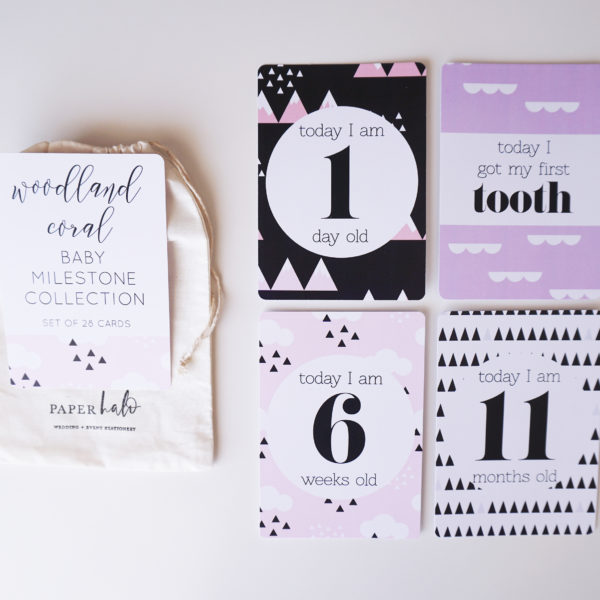 Woodland Coral Baby Milestone Cards