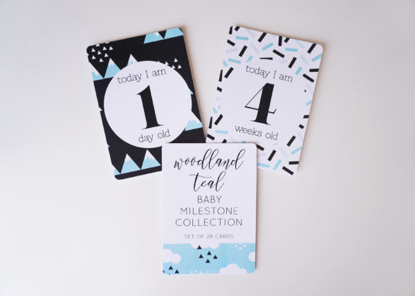 Woodland Teal Baby Milestone Cards